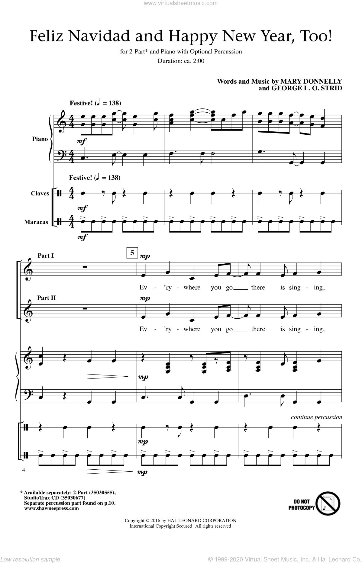 Feliz Navidad And Happy New Year, Too! sheet music for choir and piano (duets) by George L.O. Strid