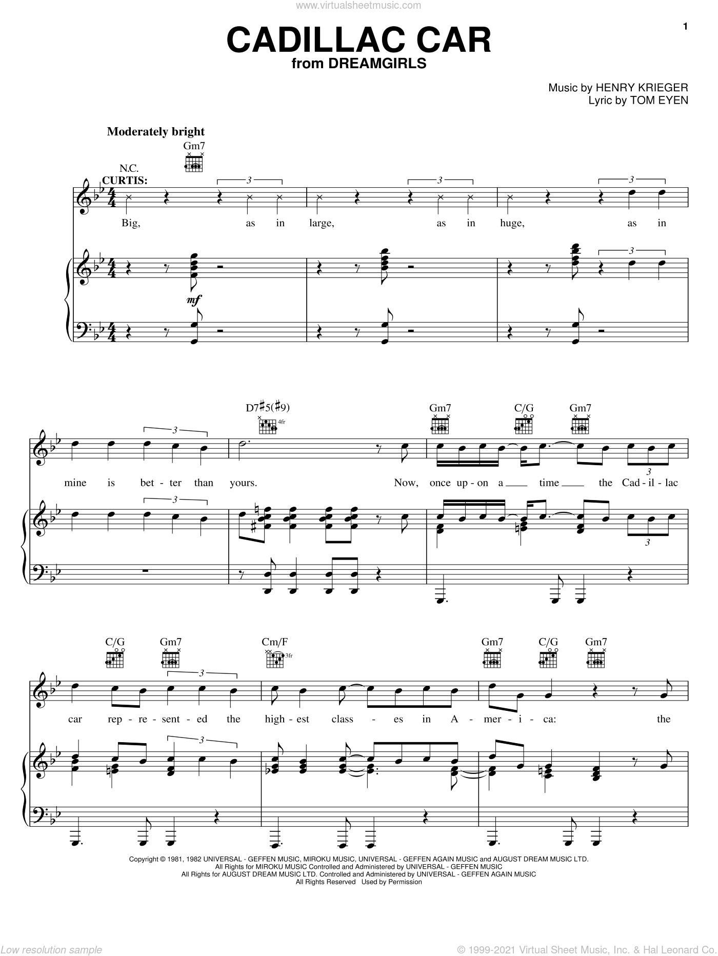 Cadillac Car sheet music for voice, piano or guitar by Tom Eyen, Dreamgirls (Musical) and Henry Krieger, intermediate skill level