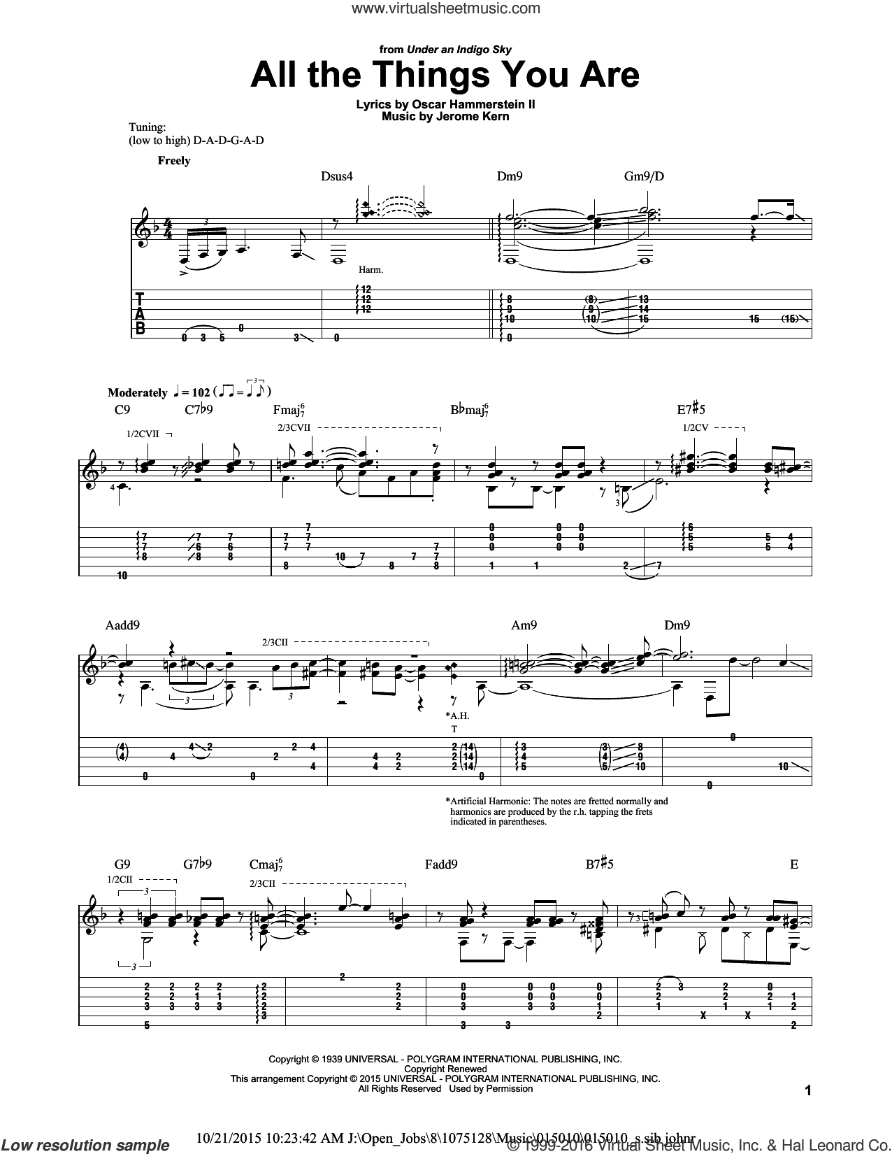 All The Things You Are sheet music for guitar solo by Oscar II Hammerstein, Laurence Juber, Jack Leonard with Tommy Dorsey Orchestra and Jerome Kern, intermediate skill level