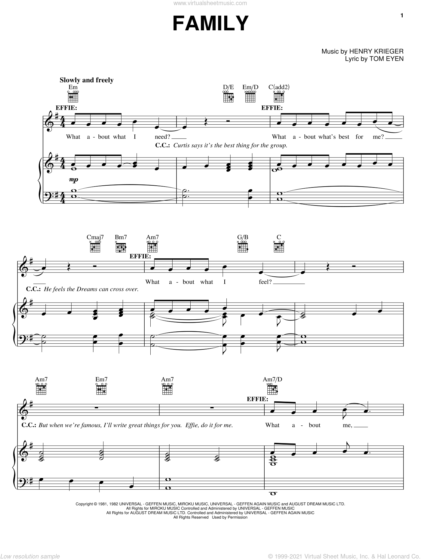 Family sheet music for voice, piano or guitar by Tom Eyen, Dreamgirls (Movie), Dreamgirls (Musical) and Henry Krieger, intermediate skill level