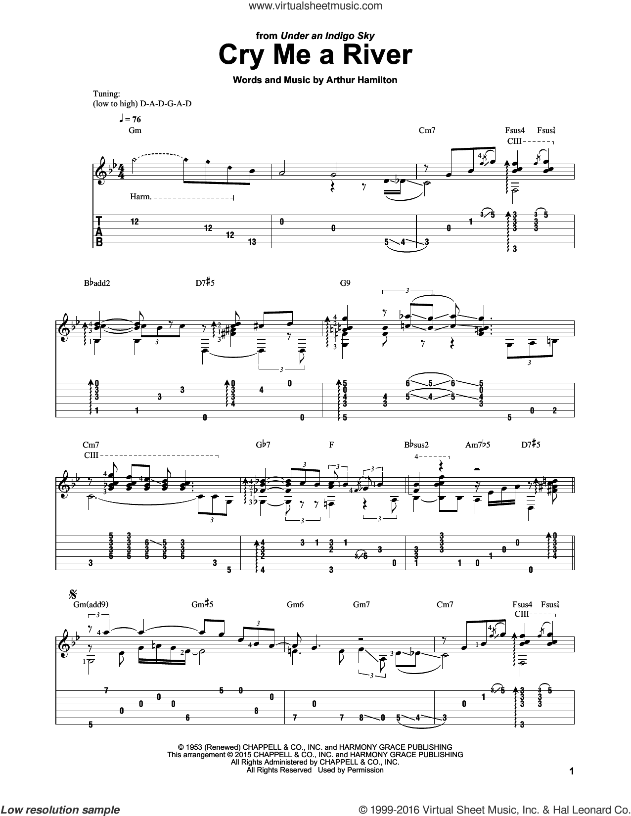 Cry Me A River sheet music for guitar solo by Arthur Hamilton, Laurence Juber, Janice Harper, Joe Cocker and Julie London, intermediate. Score Image Preview.