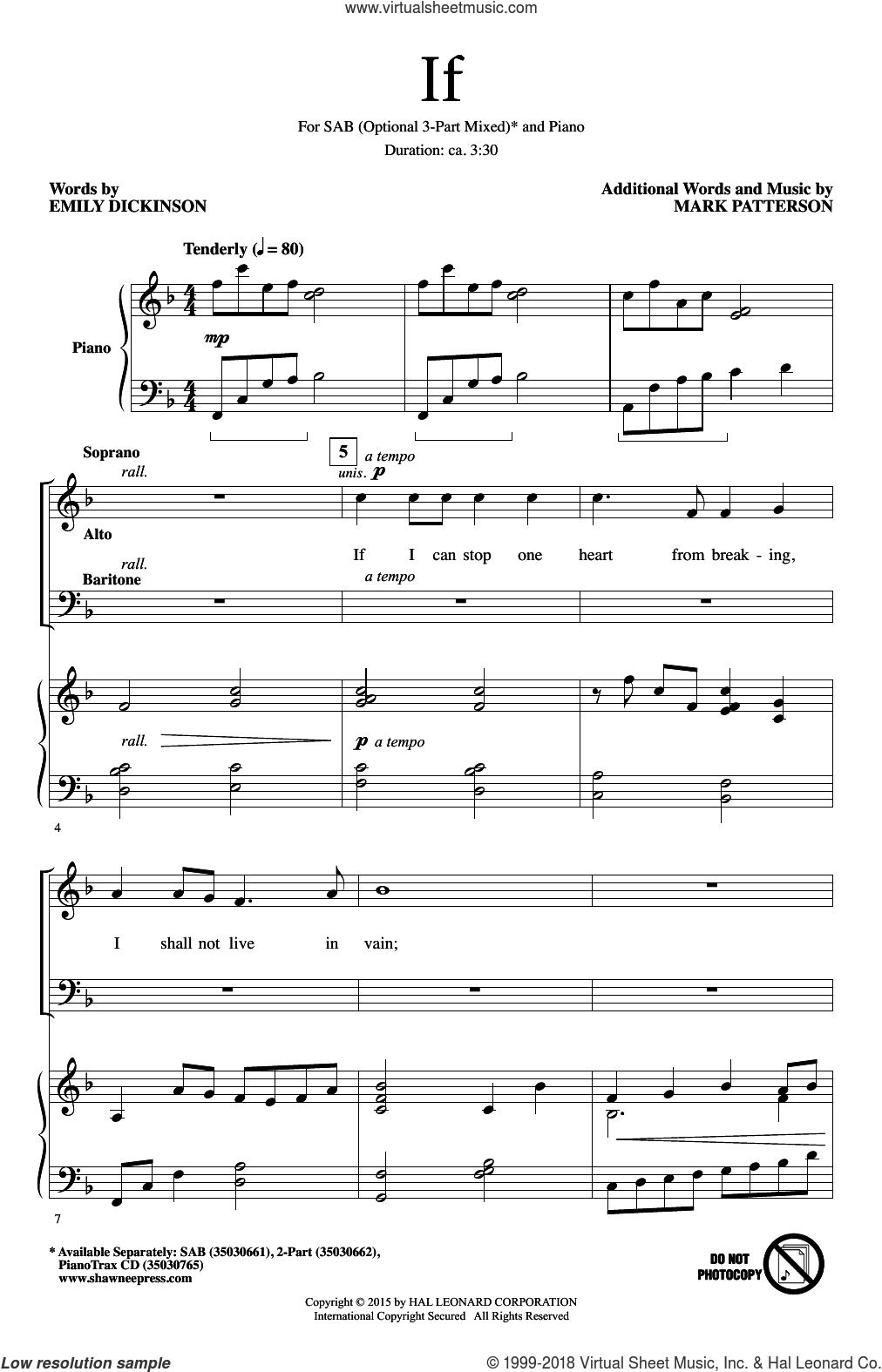 If sheet music for choir (SAB: soprano, alto, bass) by Emily Dickinson and Mark Patterson, intermediate