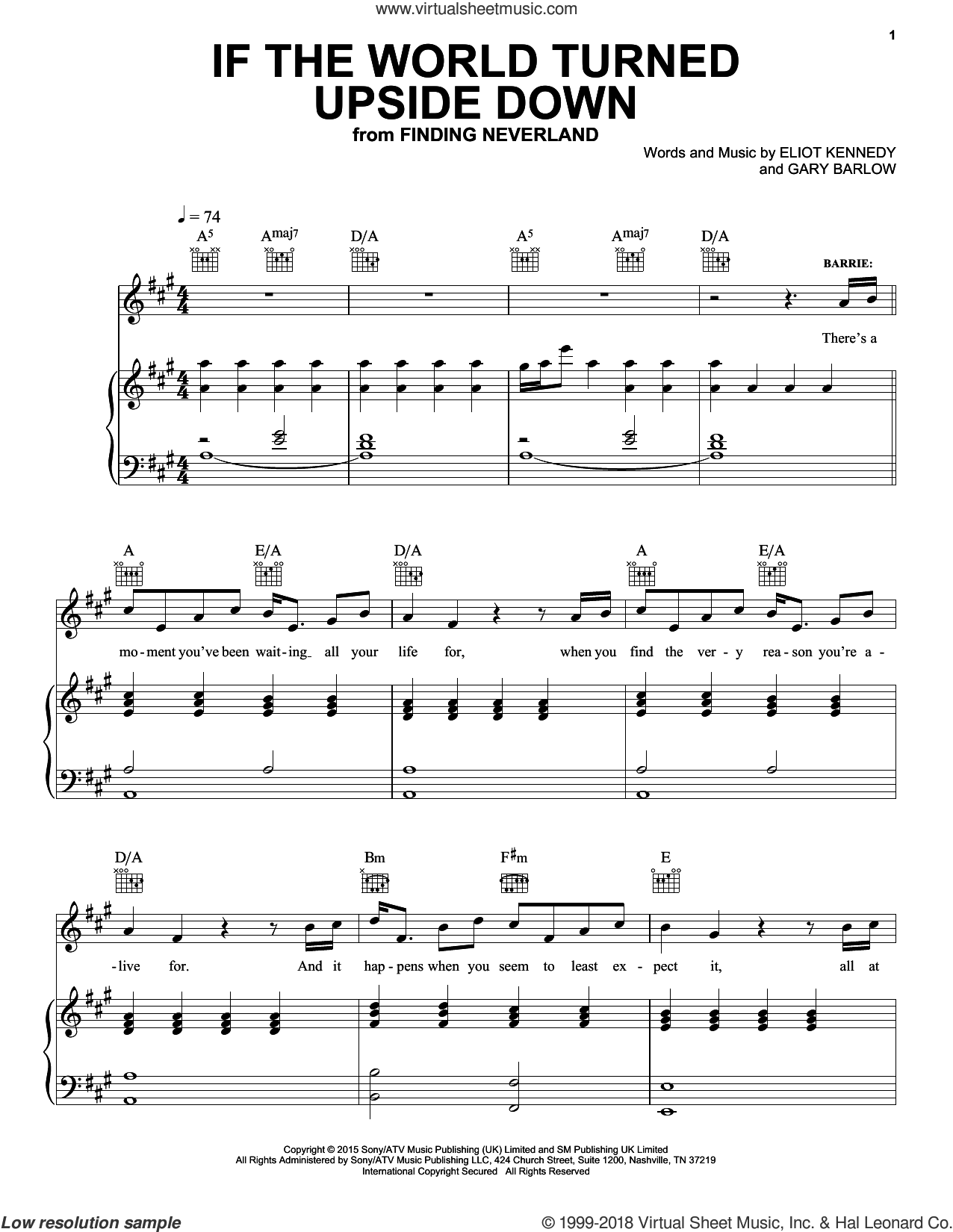 If The World Turned Upside Down sheet music for voice, piano or guitar by Gary Barlow and Eliot Kennedy. Score Image Preview.