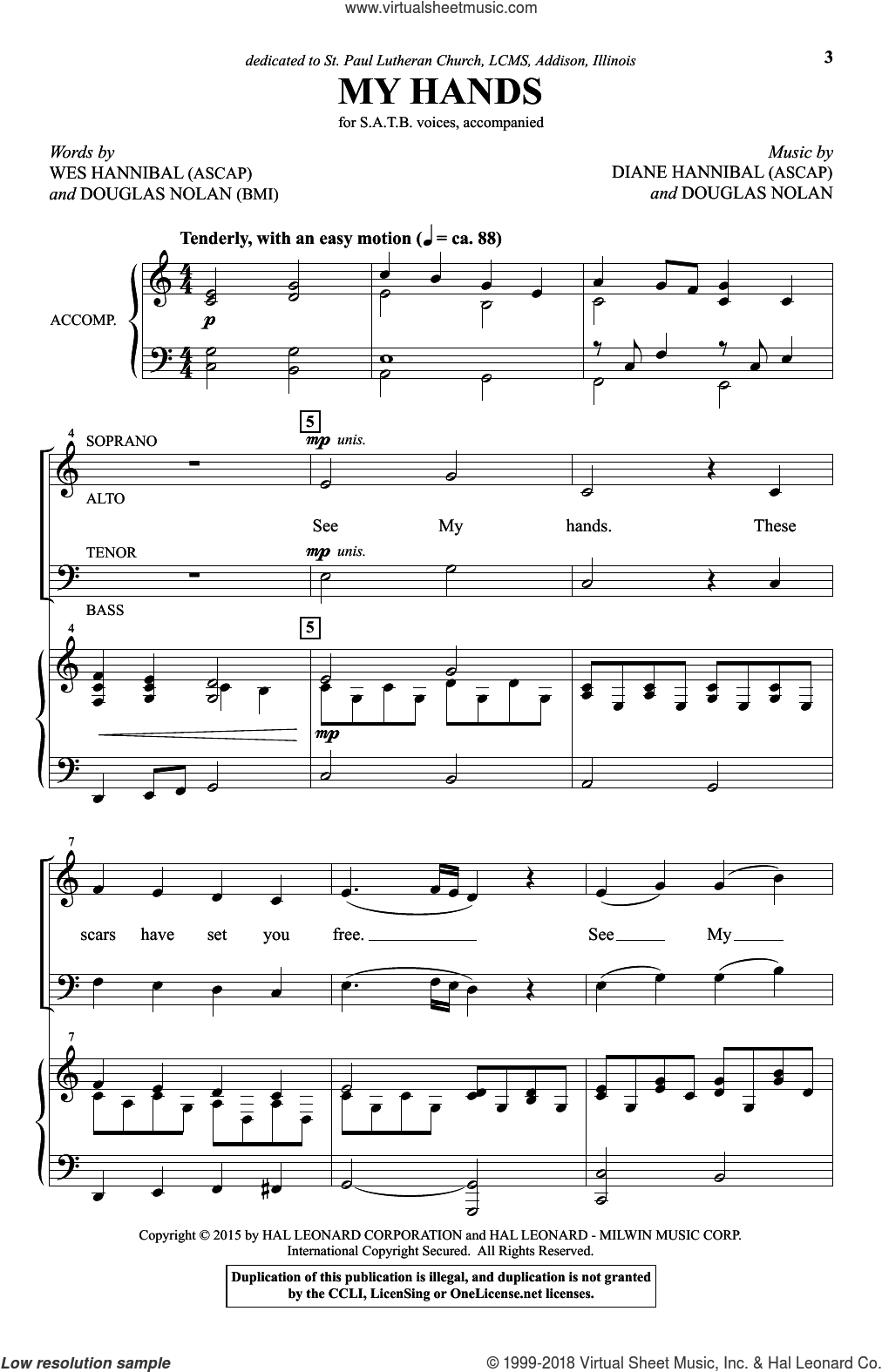 My Hands sheet music for choir (SATB) by Wes Hannibal, Diane Hannibal and Douglas Nolan. Score Image Preview.
