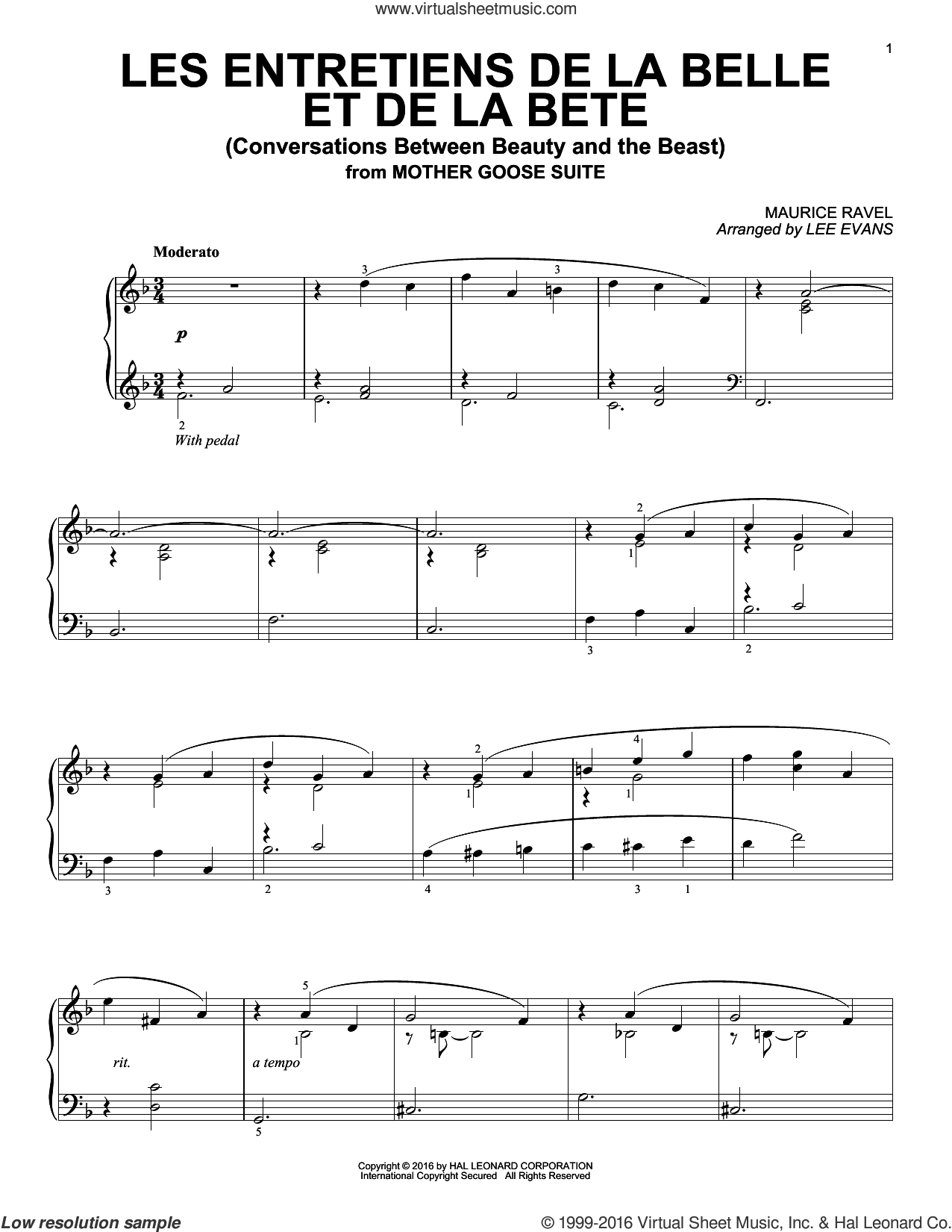 Les entretiens de la belle et de la bete (Conversations Between Beauty And The Beast) sheet music for piano solo by Maurice Ravel and Lee Evans, classical score, intermediate skill level