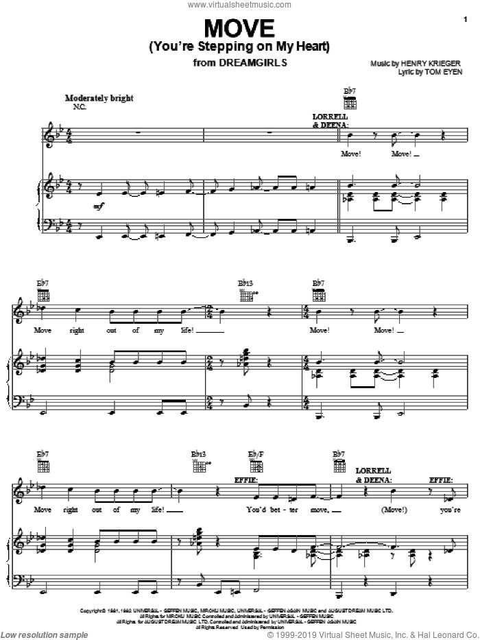 Move (You're Stepping On My Heart) sheet music for voice, piano or guitar by Tom Eyen, Dreamgirls (Musical) and Henry Krieger, intermediate skill level
