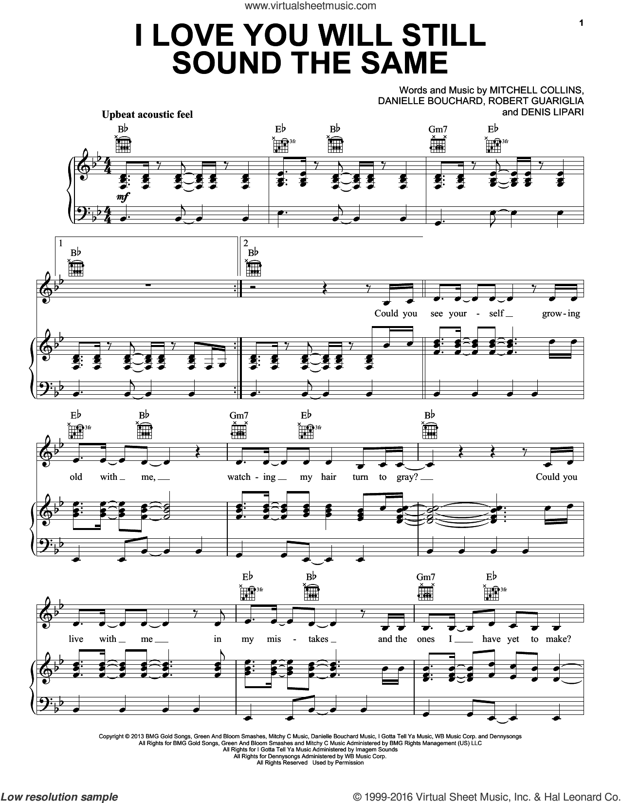 I Love You Will Still Sound The Same sheet music for voice, piano or guitar by Oh Honey, Danielle Bouchard, Denis Lipari, Mitchell Collins and Robert Guariglia, wedding score, intermediate skill level