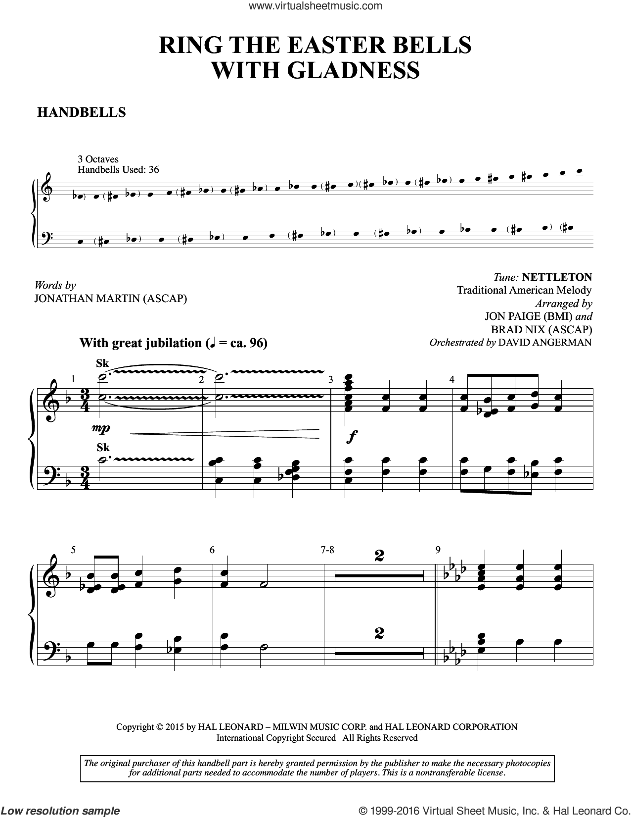 Ring the Easter Bells with Gladness sheet music for orchestra/band (handbells) by Brad Nix, Jon Paige and Jonathan Martin, intermediate