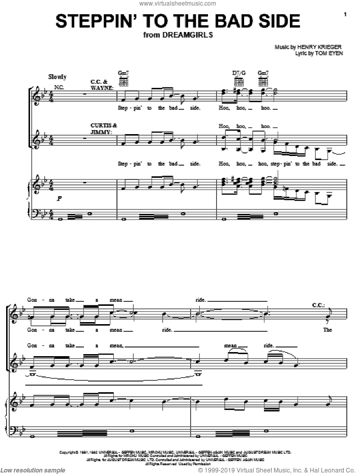 Steppin' To The Bad Side sheet music for voice, piano or guitar by Tom Eyen, Dreamgirls (Musical) and Henry Krieger, intermediate skill level