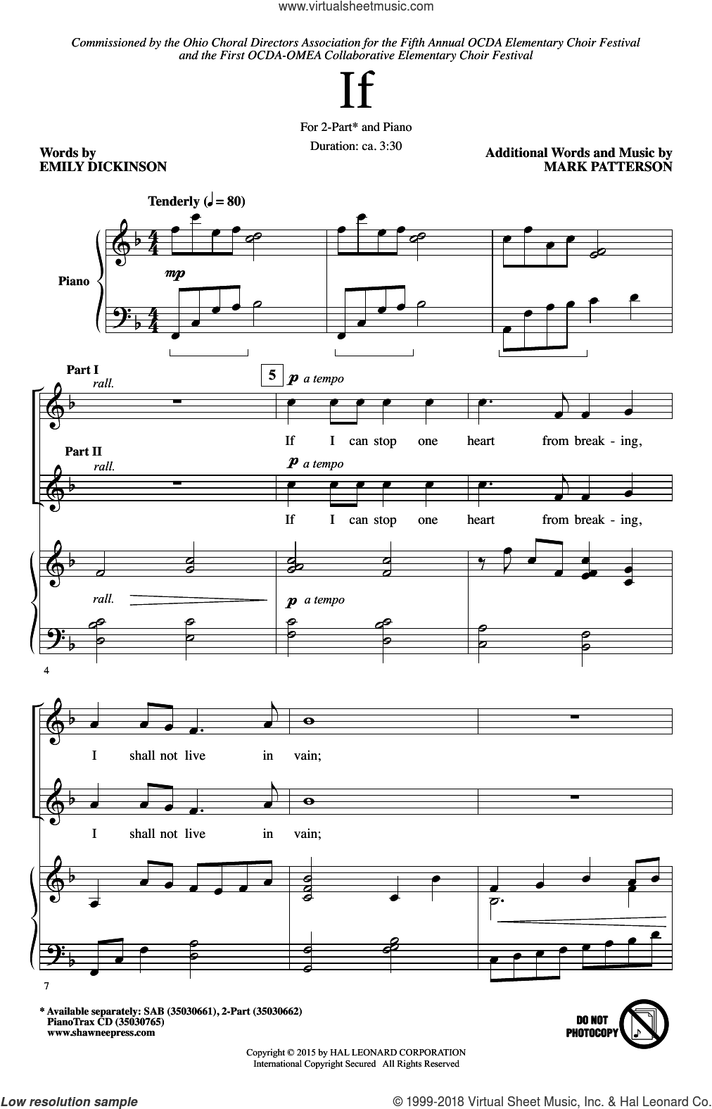 If sheet music for choir (2-Part) by Emily Dickinson and Mark Patterson, intermediate duet