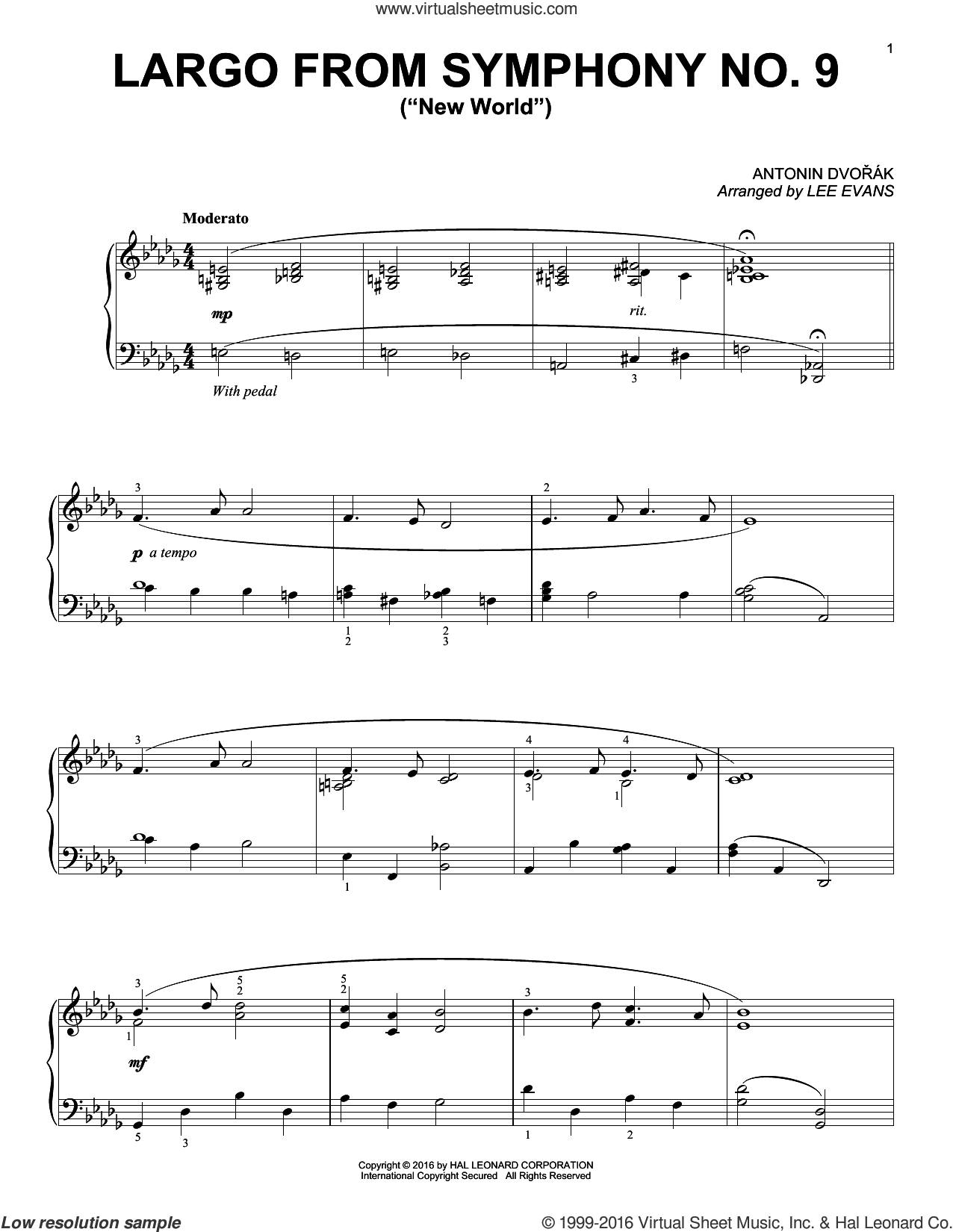 Largo From Symphony No. 9 ('New World'), (intermediate) sheet music for piano solo by Antonin Dvorak and Lee Evans, classical score, intermediate skill level