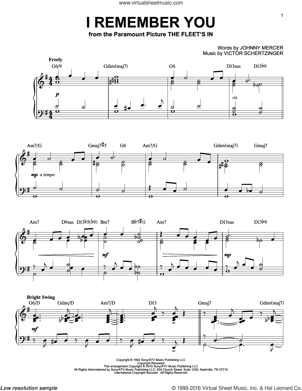 I Remember You sheet music for piano solo by Johnny Mercer, Jo Stafford and Victor Schertzinger, intermediate skill level
