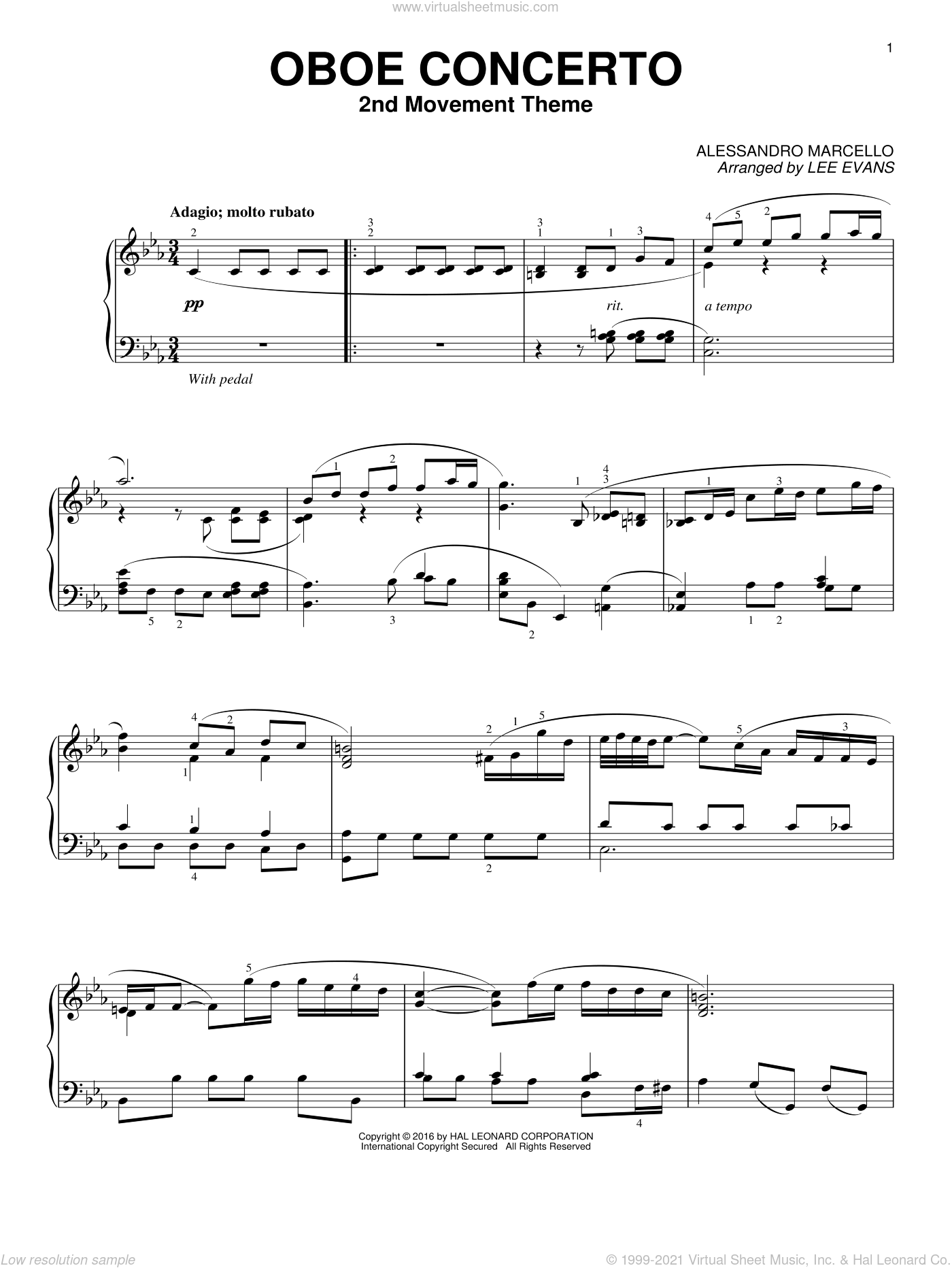 Oboe Concerto In C Minor, 2nd Movement sheet music for piano solo by Alessandro Marcello and Lee Evans, classical score, intermediate skill level