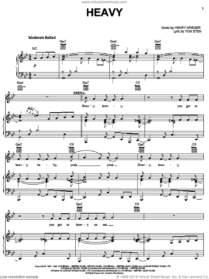 Heavy sheet music for voice, piano or guitar by Henry Krieger