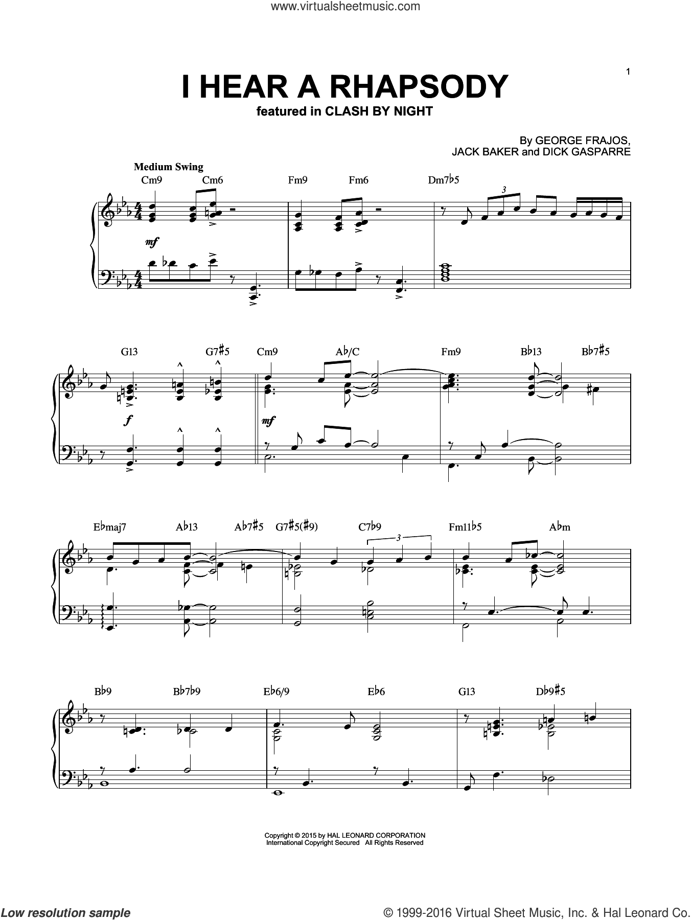 I Hear A Rhapsody sheet music for piano solo by Dick Gasparre and Jack Baker, intermediate. Score Image Preview.