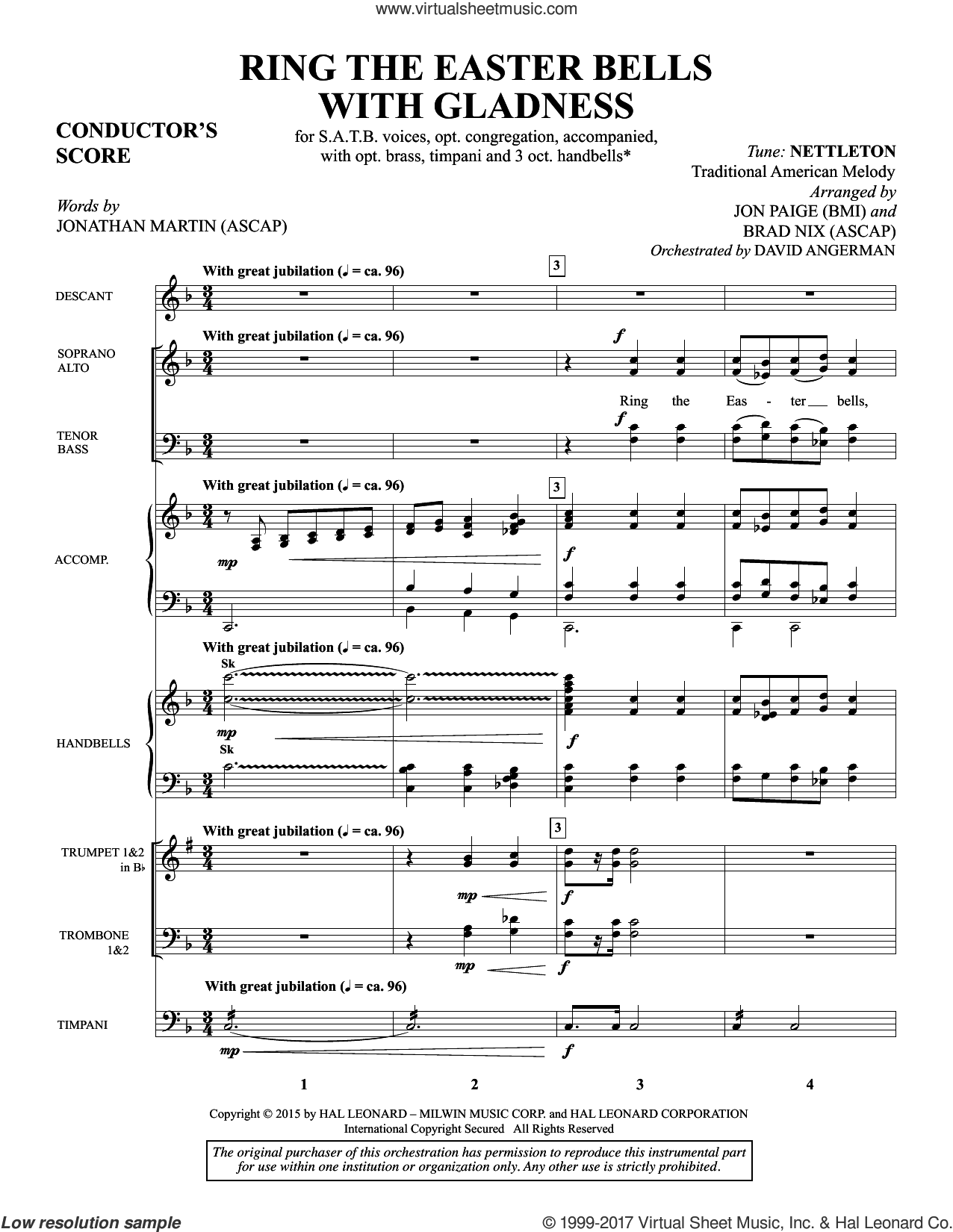 Ring the Easter Bells with Gladness (COMPLETE) sheet music for orchestra/band by Brad Nix and Jon Paige, intermediate. Score Image Preview.