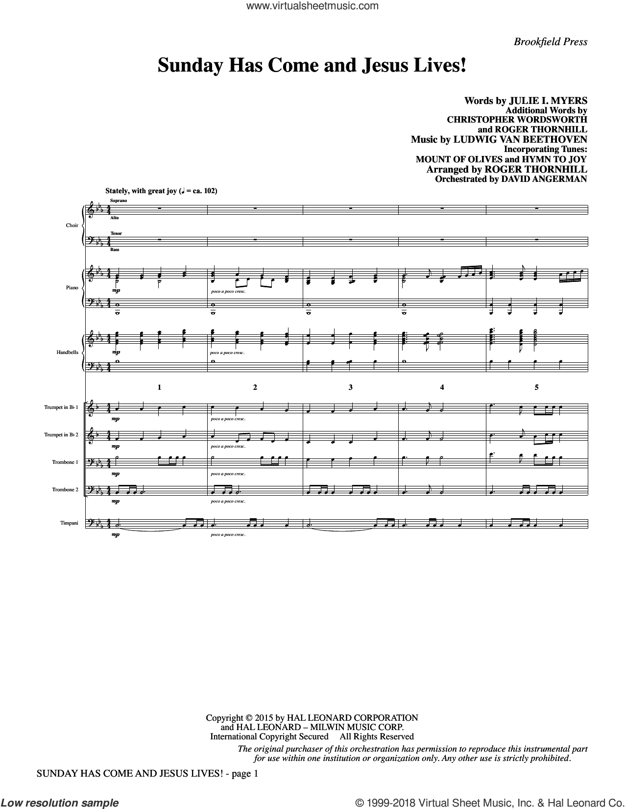 Sunday Has Come and Jesus Lives! (COMPLETE) sheet music for orchestra/band by Ludwig van Beethoven, Christopher Wordsworth, Julie Myers and Roger Thornhill, intermediate skill level