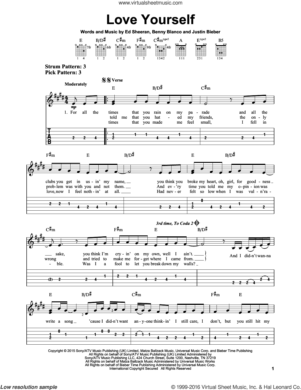 Love Yourself sheet music for guitar solo (easy tablature) by Justin Bieber, Benny Blanco and Ed Sheeran, easy guitar (easy tablature). Score Image Preview.