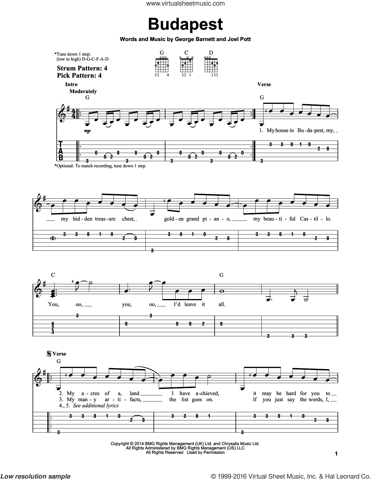 Budapest sheet music for guitar solo (easy tablature) by George Ezra, George Barnett and Joel Pott, easy guitar (easy tablature)