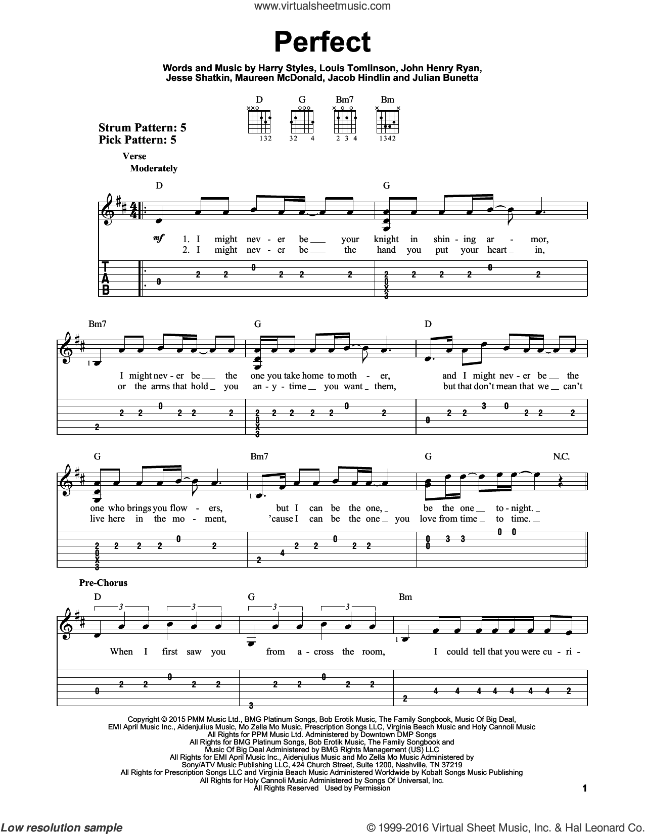 Perfect sheet music for guitar solo (easy tablature) by One Direction, Harry Styles, Jacob Hindlin, Jesse Shatkin, John Henry Ryan, Julian Bunetta, Louis Tomlinson and Maureen Mcdonald, easy guitar (easy tablature)