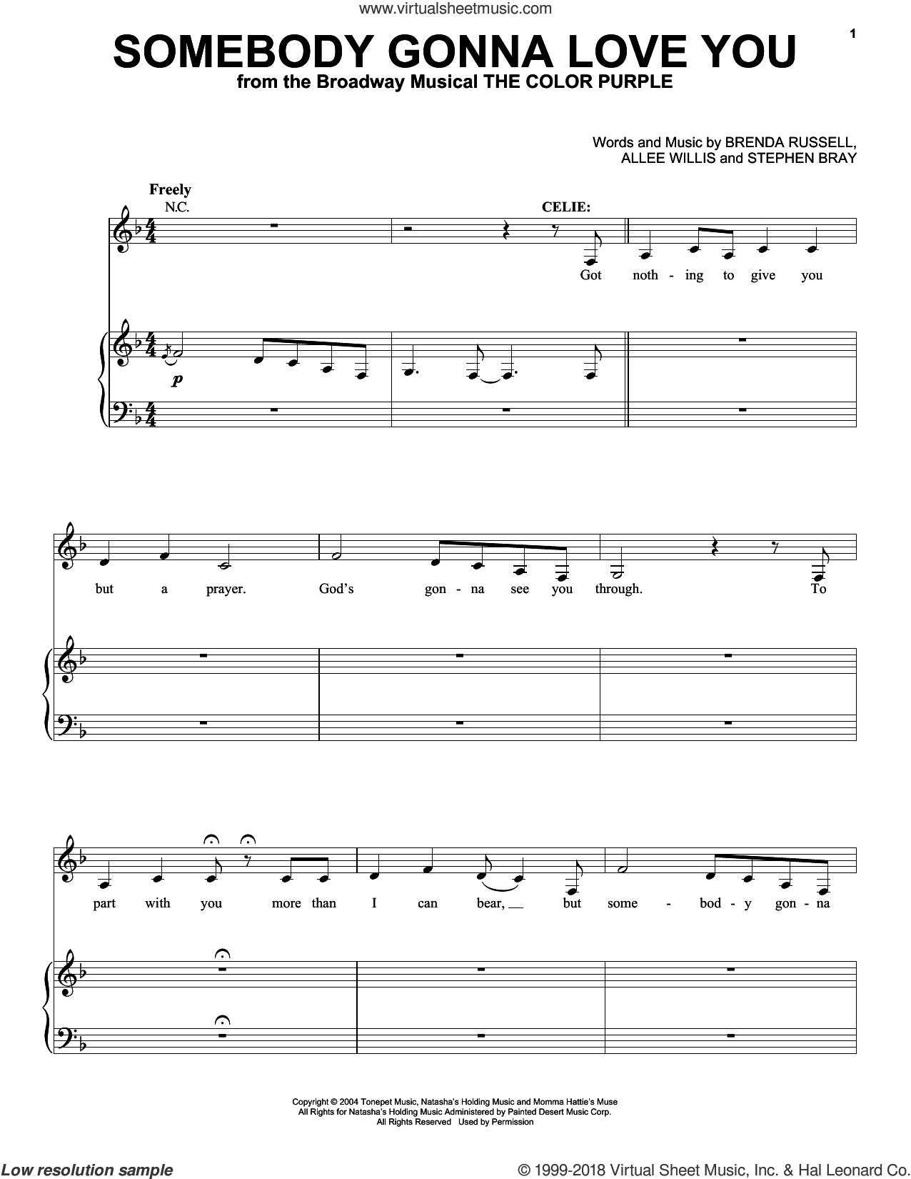 Somebody Gonna Love You sheet music for voice and piano by Stephen Bray, Allee Willis and Brenda Russell. Score Image Preview.