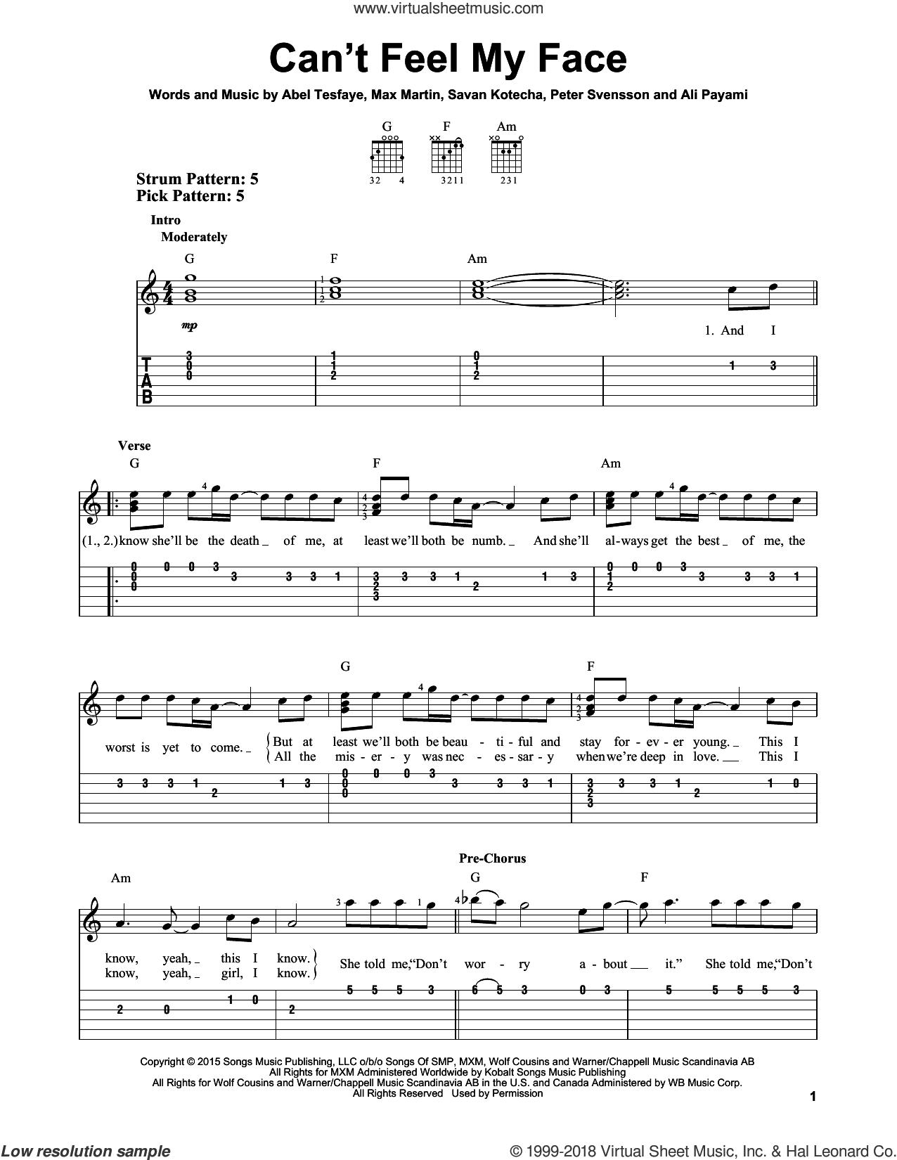Can't Feel My Face sheet music for guitar solo (easy tablature) by Savan Kotecha, The Weeknd, Ali Payami, Max Martin and Peter Svensson. Score Image Preview.