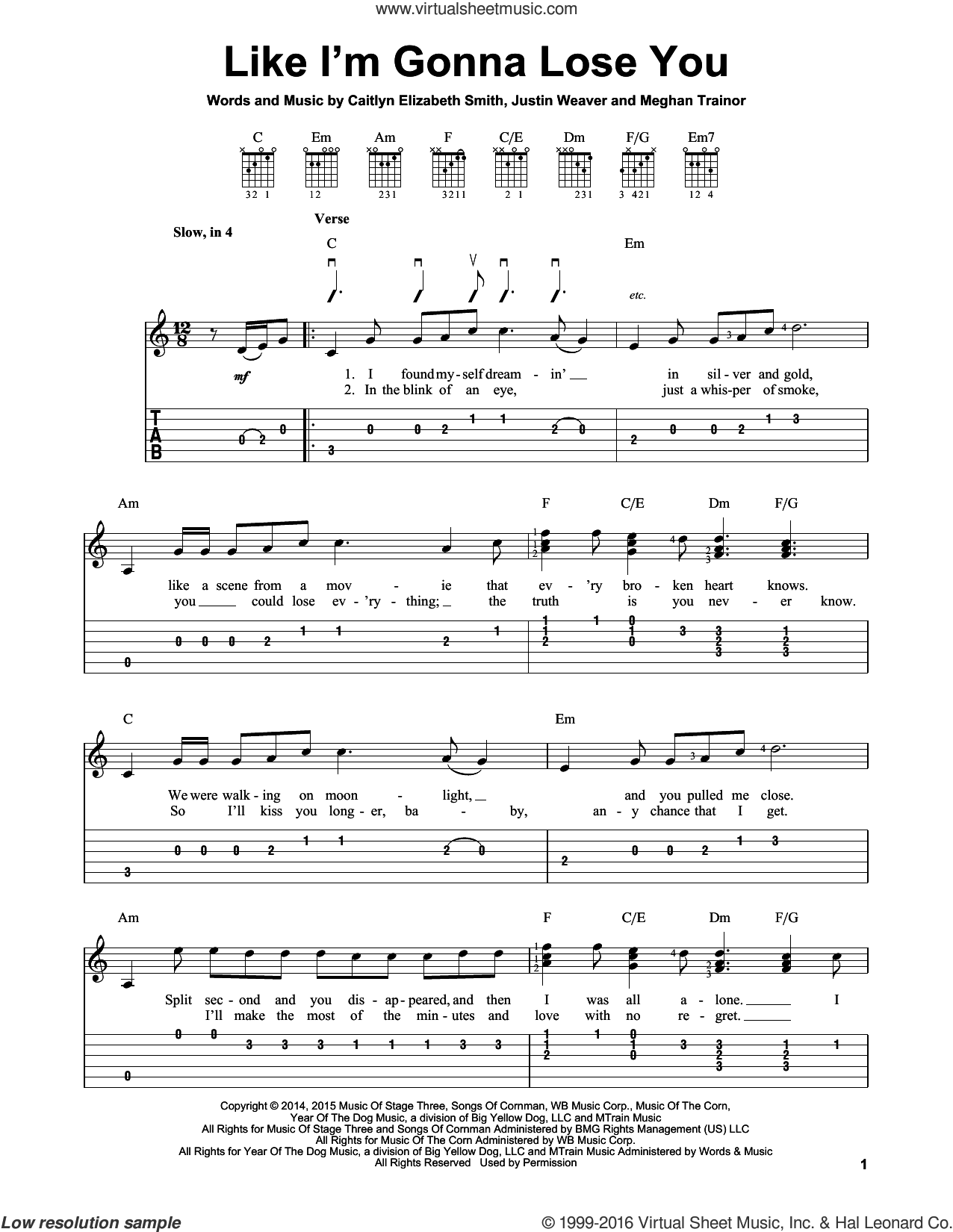 Like I'm Gonna Lose You sheet music for guitar solo (easy tablature) by Justin Weaver and Meghan Trainor. Score Image Preview.