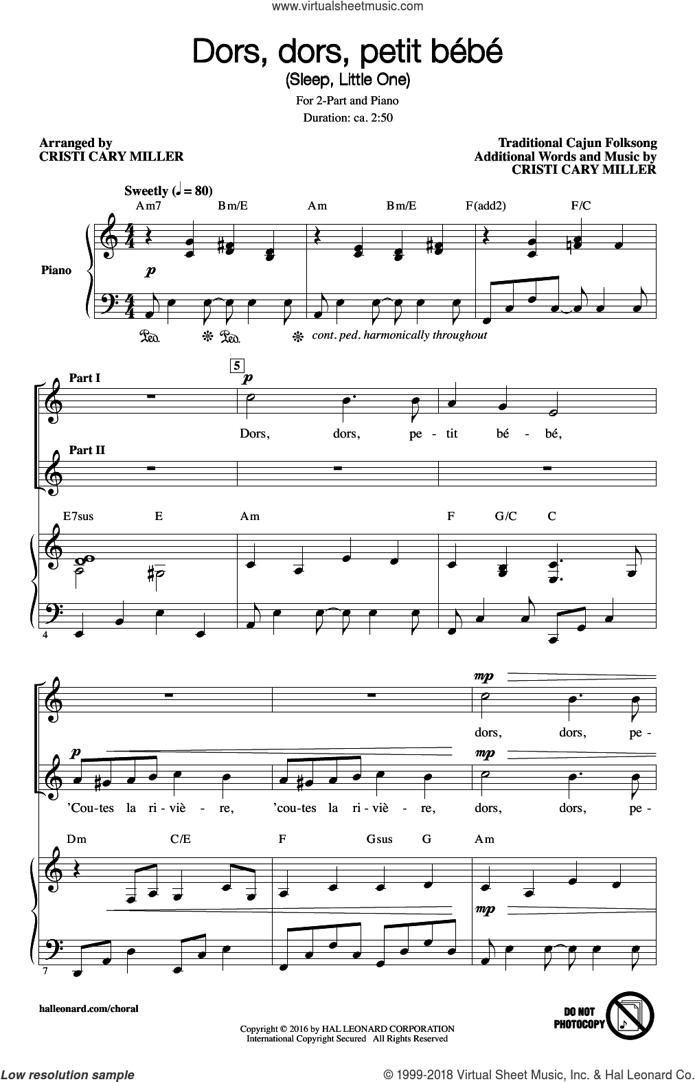 Dors, Dors, Petit Bebe (Sleep, Little One) sheet music for choir and piano (duets) by Traditional Cajun Folksong and Cristi Cary Miller. Score Image Preview.
