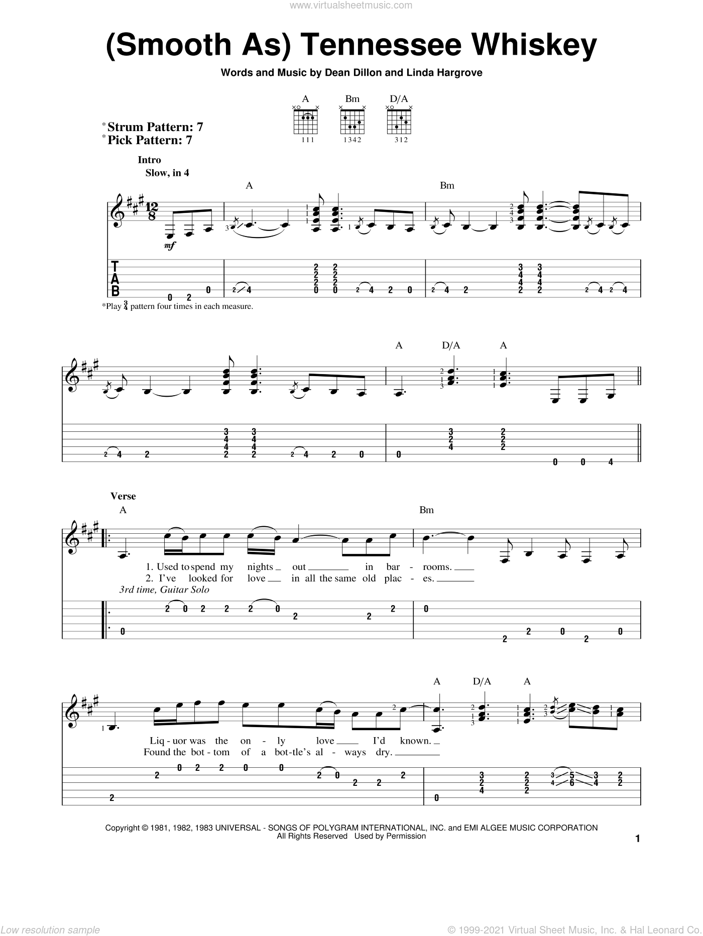 (Smooth As) Tennessee Whiskey sheet music for guitar solo (easy tablature) by Chris Stapleton, George Jones, Dean Dillon and Linda Hargrove, easy guitar (easy tablature)