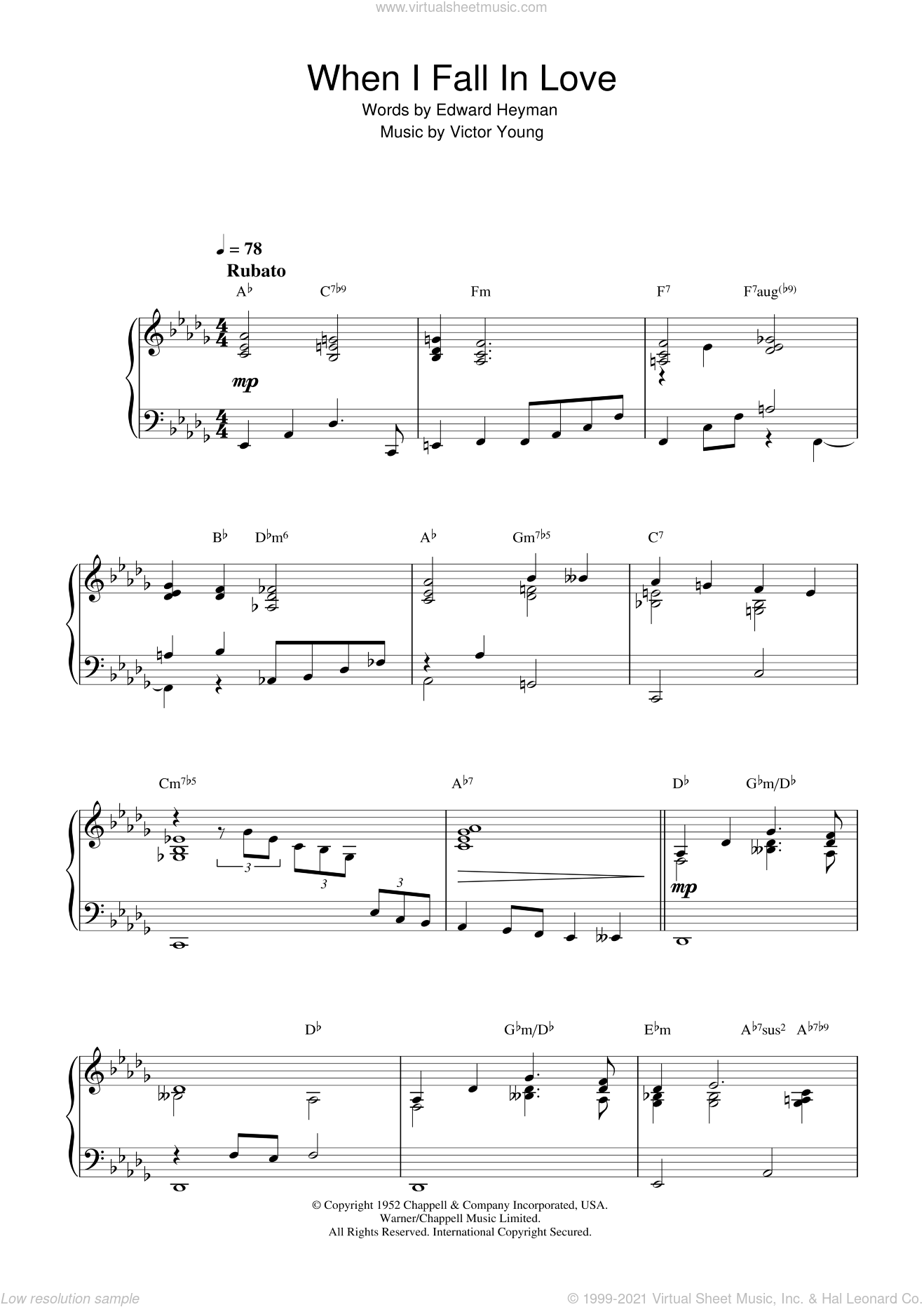 When I Fall In Love sheet music for piano solo by Edward Heyman and Victor Young. Score Image Preview.