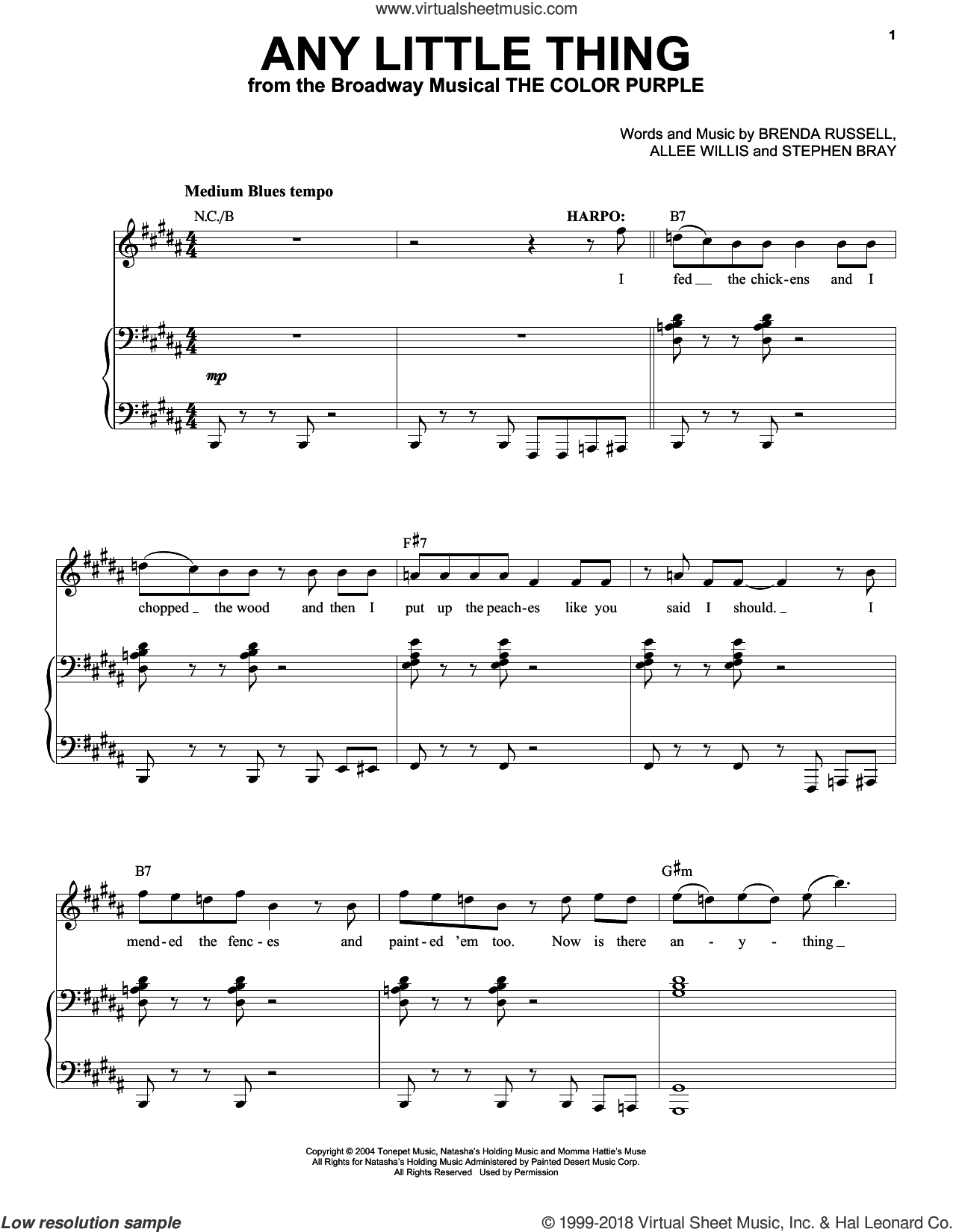 Any Little Thing sheet music for voice and piano by Brenda Russell, Allee Willis and Stephen Bray, intermediate skill level