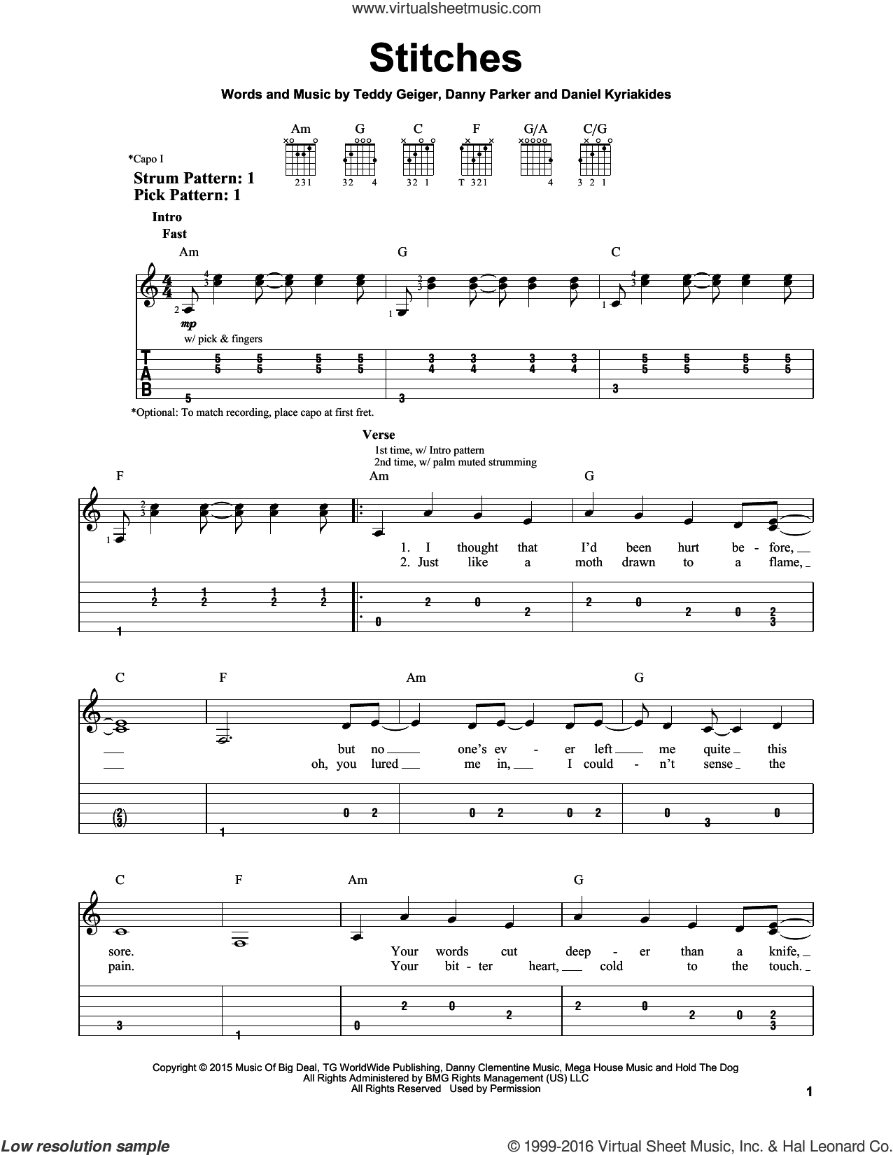 Stitches sheet music for guitar solo (easy tablature) by Shawn Mendes, Daniel Kyriakides, Danny Parker and Teddy Geiger, easy guitar (easy tablature)