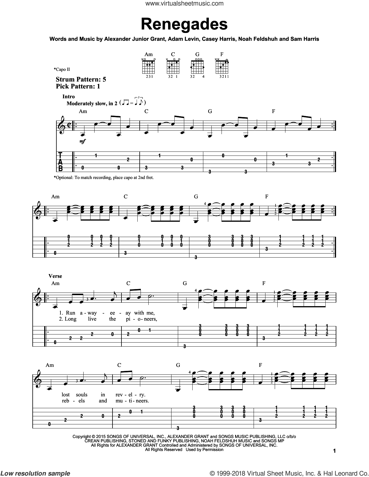 Renegades sheet music for guitar solo (easy tablature) by X Ambassadors, Adam Levin, Alexander Junior Grant, Casey Harris, Noah Feldshuh and Samuel Harris, easy guitar (easy tablature). Score Image Preview.