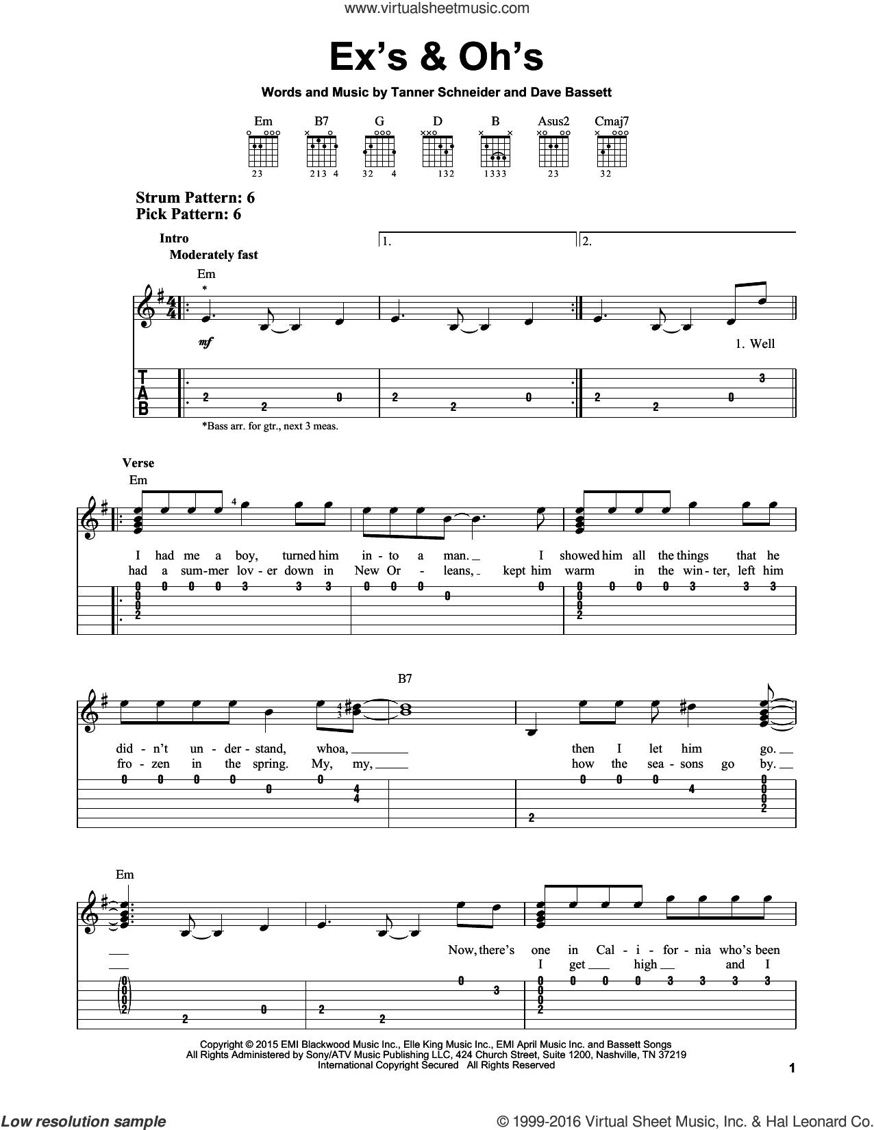 Ex's and Oh's sheet music for guitar solo (easy tablature) by Elle King, Dave Bassett and Tanner Schneider, easy guitar (easy tablature)