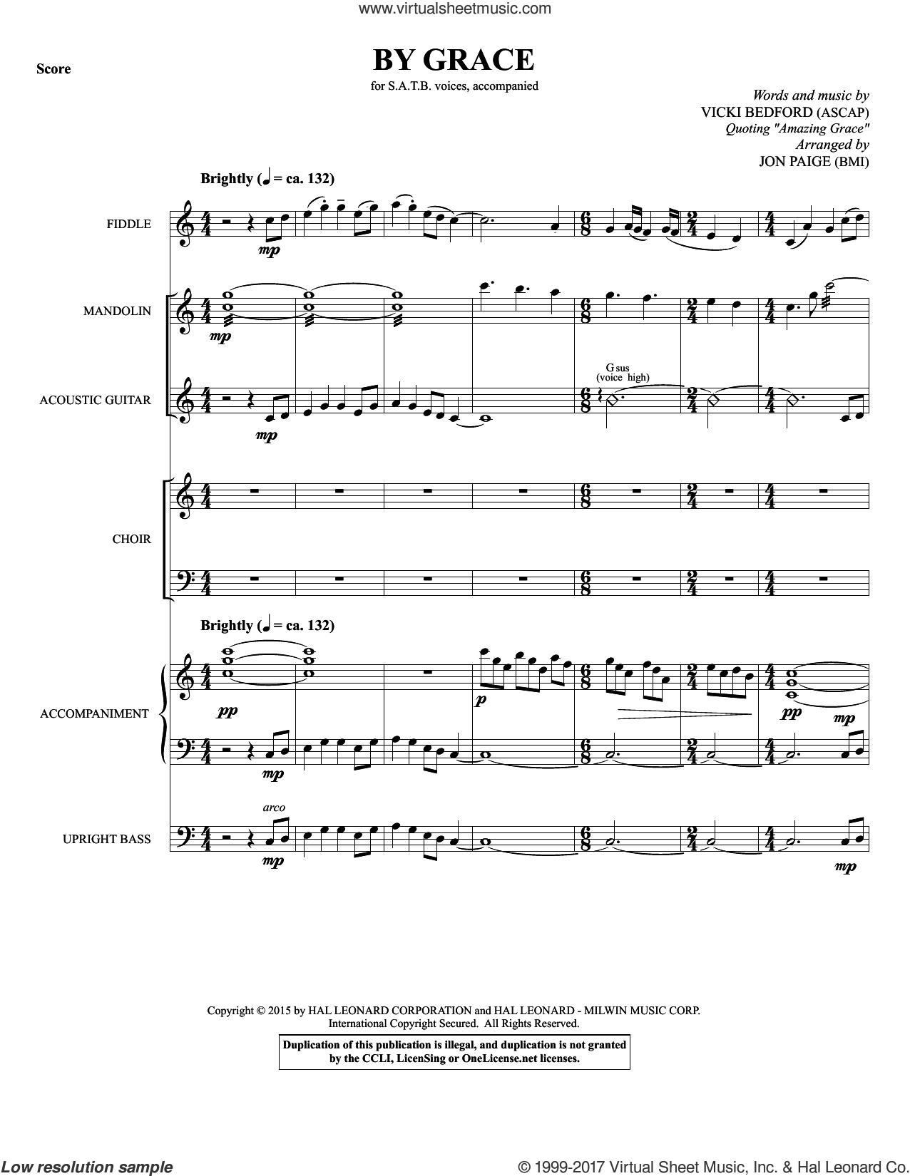 By Grace (COMPLETE) sheet music for orchestra/band by Jon Paige, Vicki Bedford and Vicki Beford, intermediate skill level