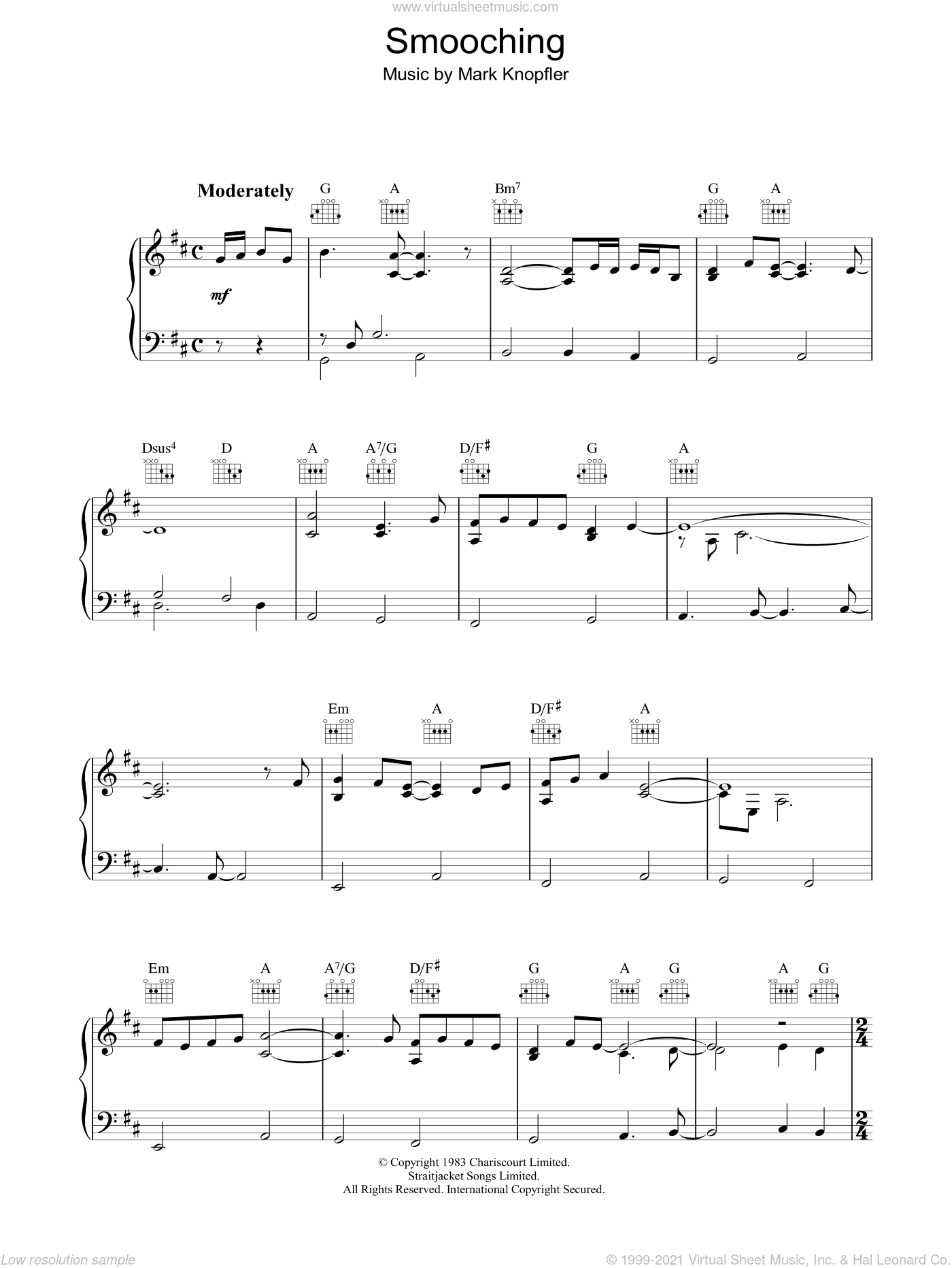 Smooching (from Local Hero) sheet music for piano solo by Mark Knopfler, intermediate skill level