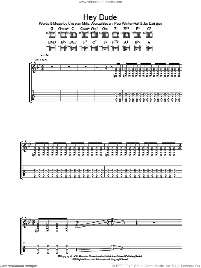 Hey Dude sheet music for guitar (tablature) by Paul Winter-Hart