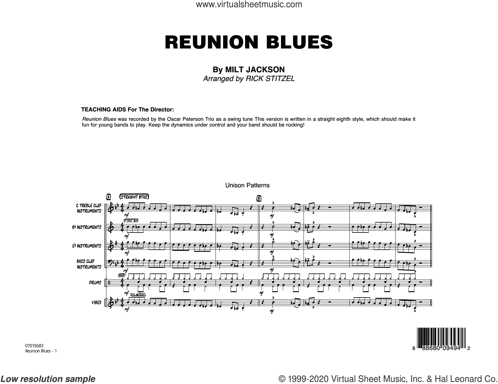Reunion Blues (COMPLETE) sheet music for jazz band by Rick Stitzel, Milt Jackson and Oscar Peterson, intermediate skill level