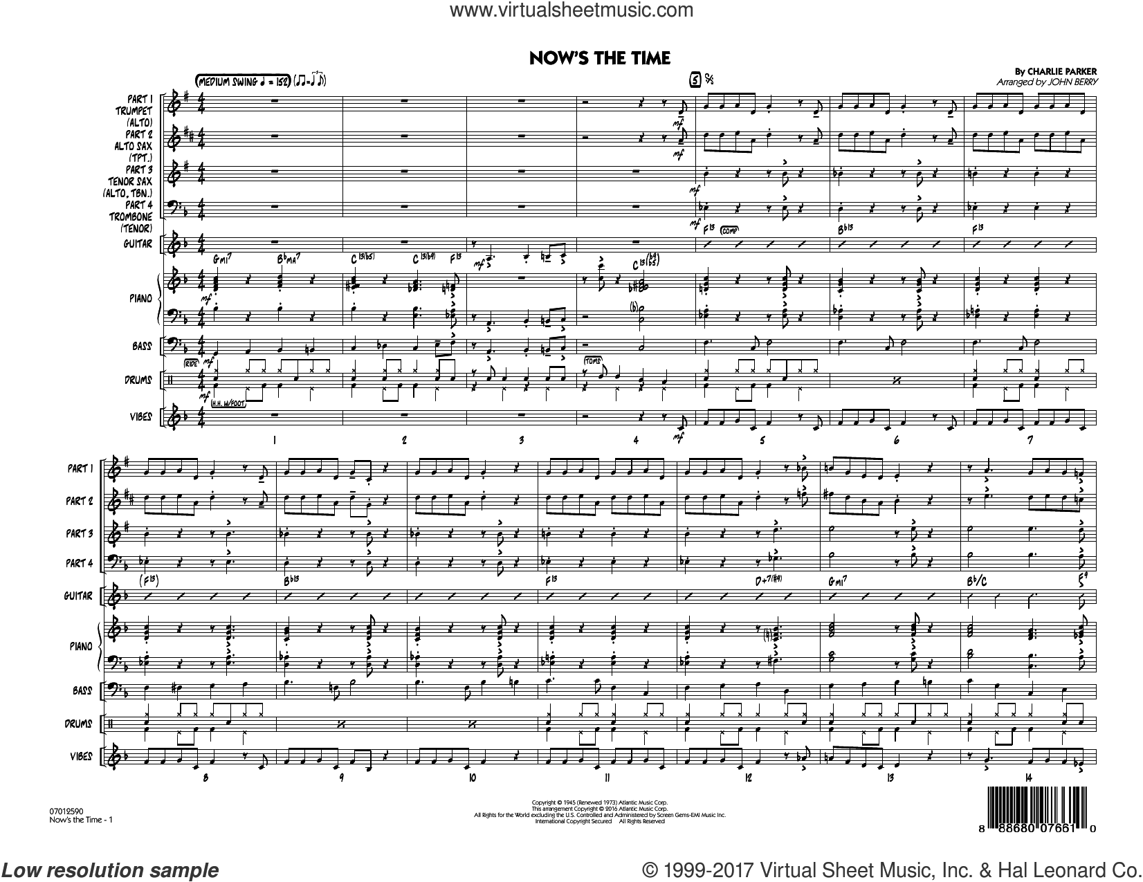 Now's the Time (COMPLETE) sheet music for jazz band by Charlie Parker and John Berry, intermediate. Score Image Preview.