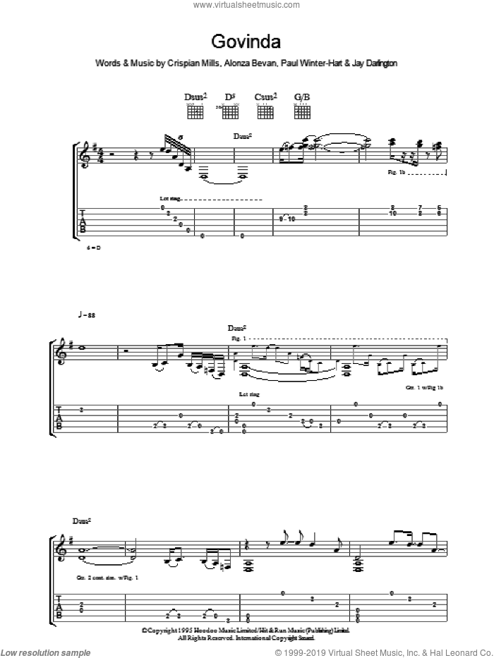 Govinda sheet music for guitar (tablature) by Kula Shaker. Score Image Preview.
