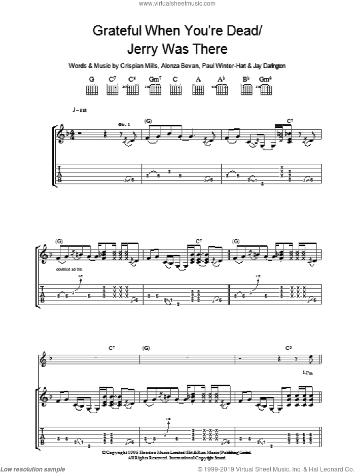 Grateful When You're Dead/Jerry Was There sheet music for guitar (tablature) by Kula Shaker, Alonza Bevan, Crispian Mills, Jay Darlington and Paul Winter-Hart, intermediate. Score Image Preview.