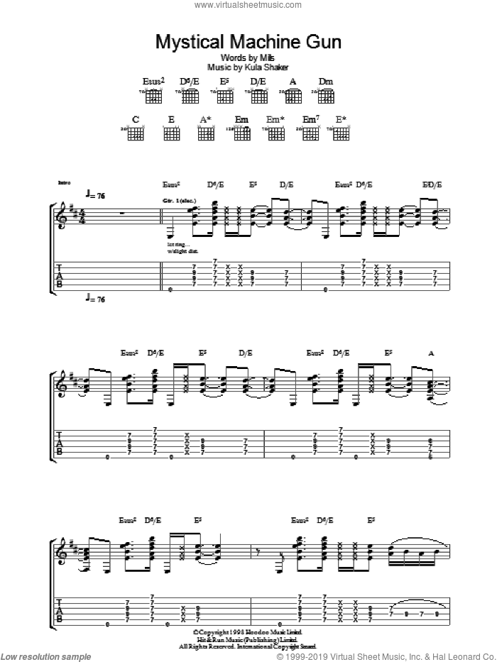 Mystical Machine Gun sheet music for guitar (tablature) by Paul Winter-Hart