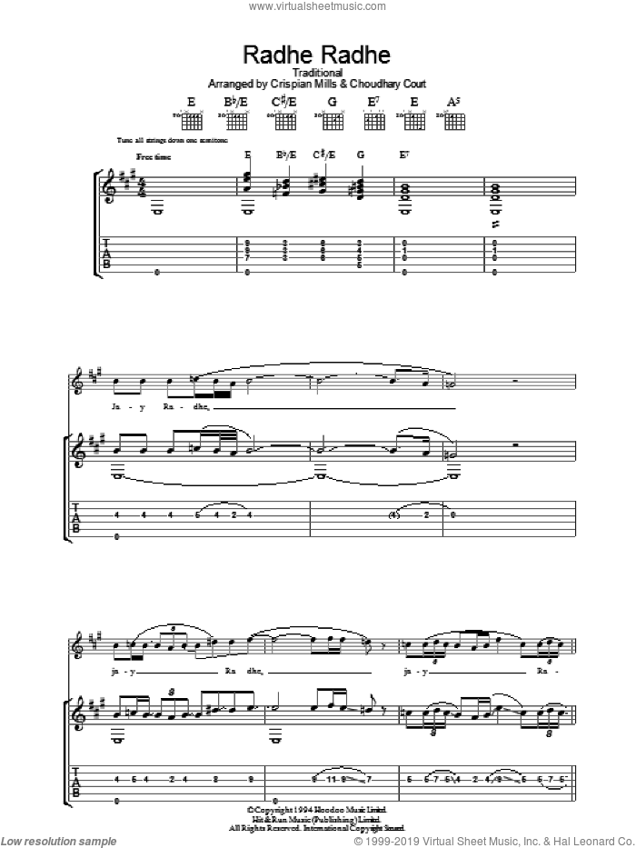 Radhe Radhe sheet music for guitar (tablature) by Kula Shaker, Choudhary Court, Crispian Mills and Miscellaneous, intermediate skill level