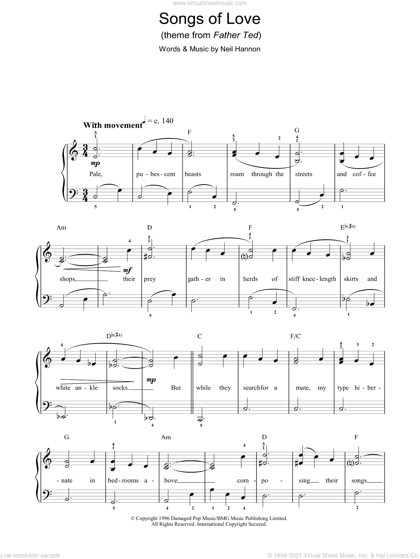 Songs Of Love (Theme from Father Ted) sheet music for voice, piano or guitar by The Divine Comedy and Neil Hannon, intermediate. Score Image Preview.