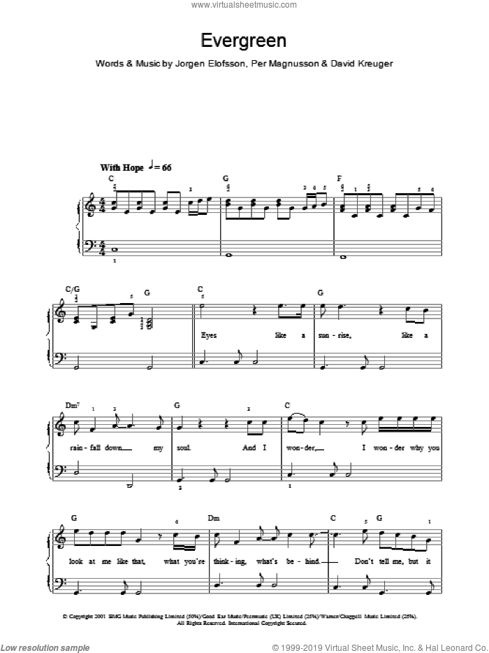 Evergreen sheet music for voice, piano or guitar by Per Magnusson, Will Young, David Kreuger and Jorgen Elofsson. Score Image Preview.