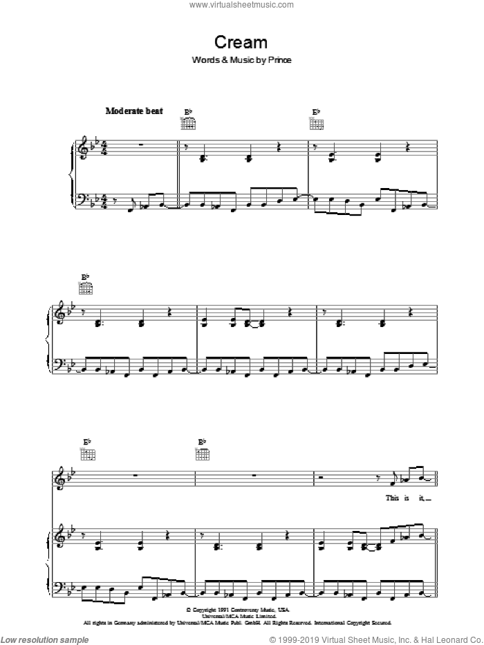 Cream sheet music for voice, piano or guitar by Prince. Score Image Preview.