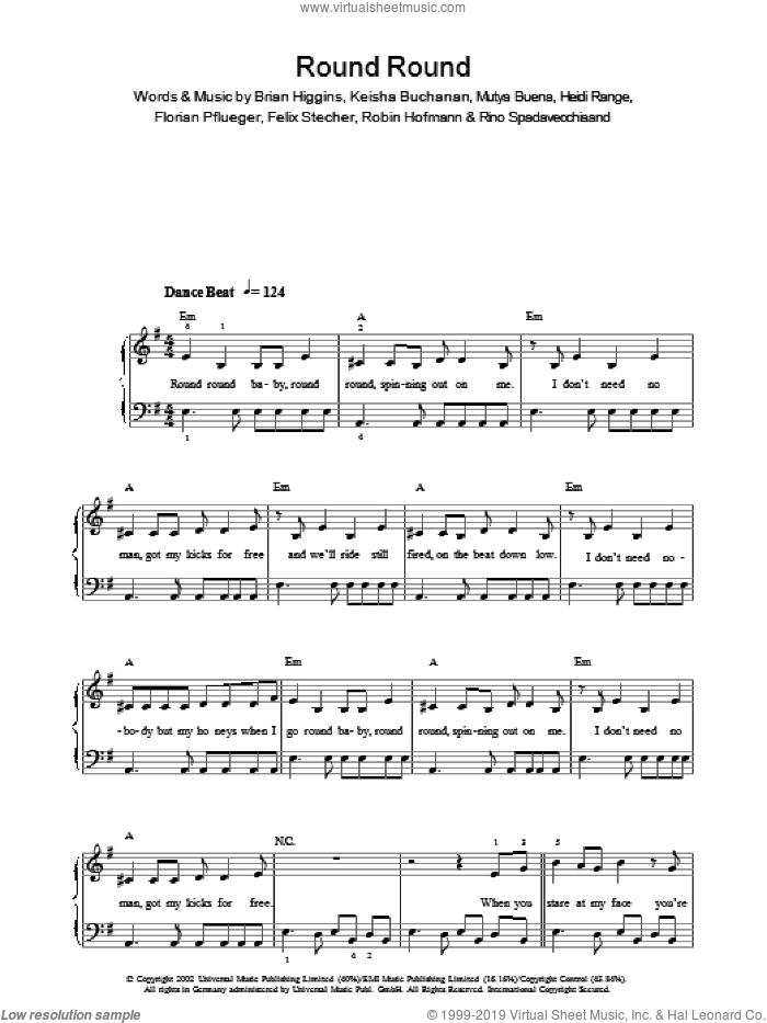 Round Round sheet music for voice, piano or guitar by Robin Hofmann, Sugababes, Brian Higgins and Mutya Buena. Score Image Preview.