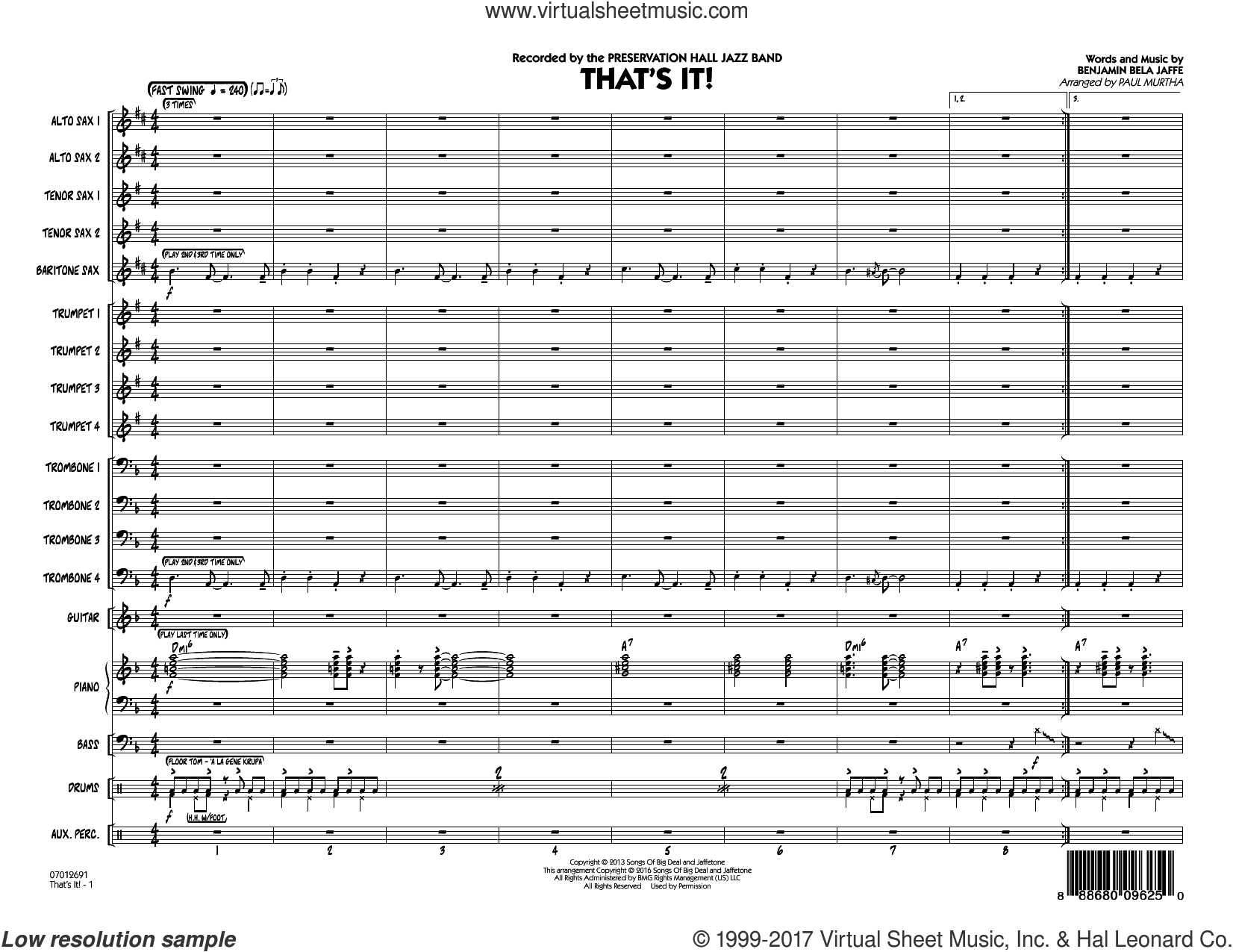 That's It! (COMPLETE) sheet music for jazz band by Paul Murtha and Benjamin Bela Jaffe, intermediate skill level