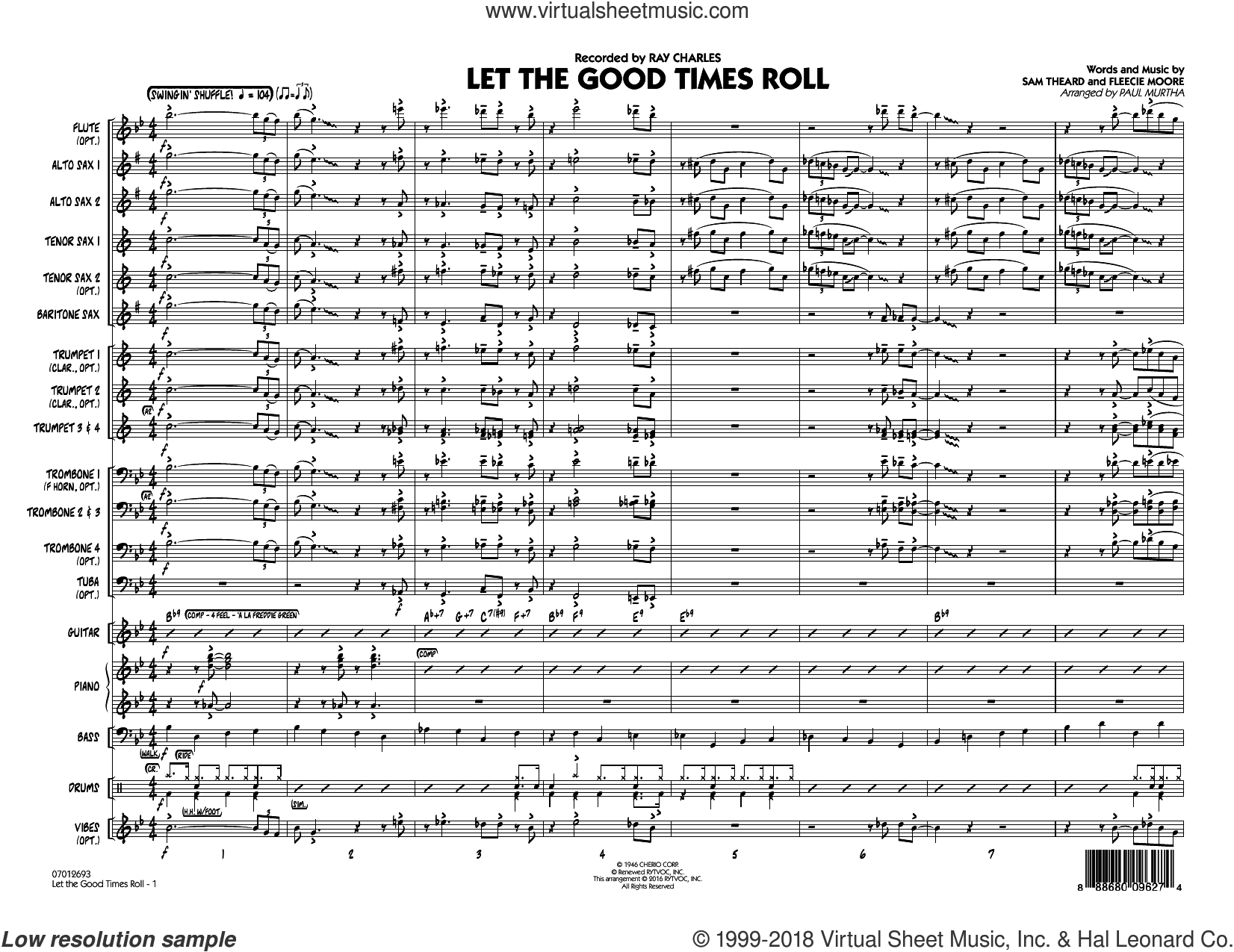 Let the Good Times Roll (COMPLETE) sheet music for jazz band by Paul Murtha, B.B. King, Fleecie Moore, Ray Charles, Sam Theard and Shirley & Lee, intermediate skill level