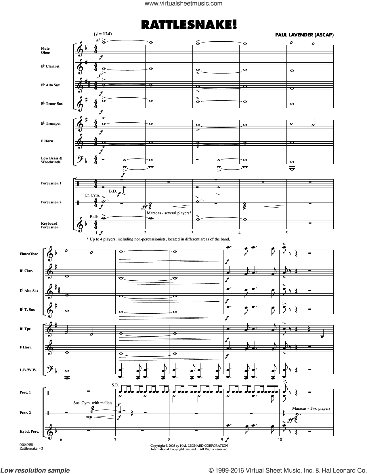 Rattlesnake! (COMPLETE) sheet music for concert band by Paul Lavender, intermediate. Score Image Preview.